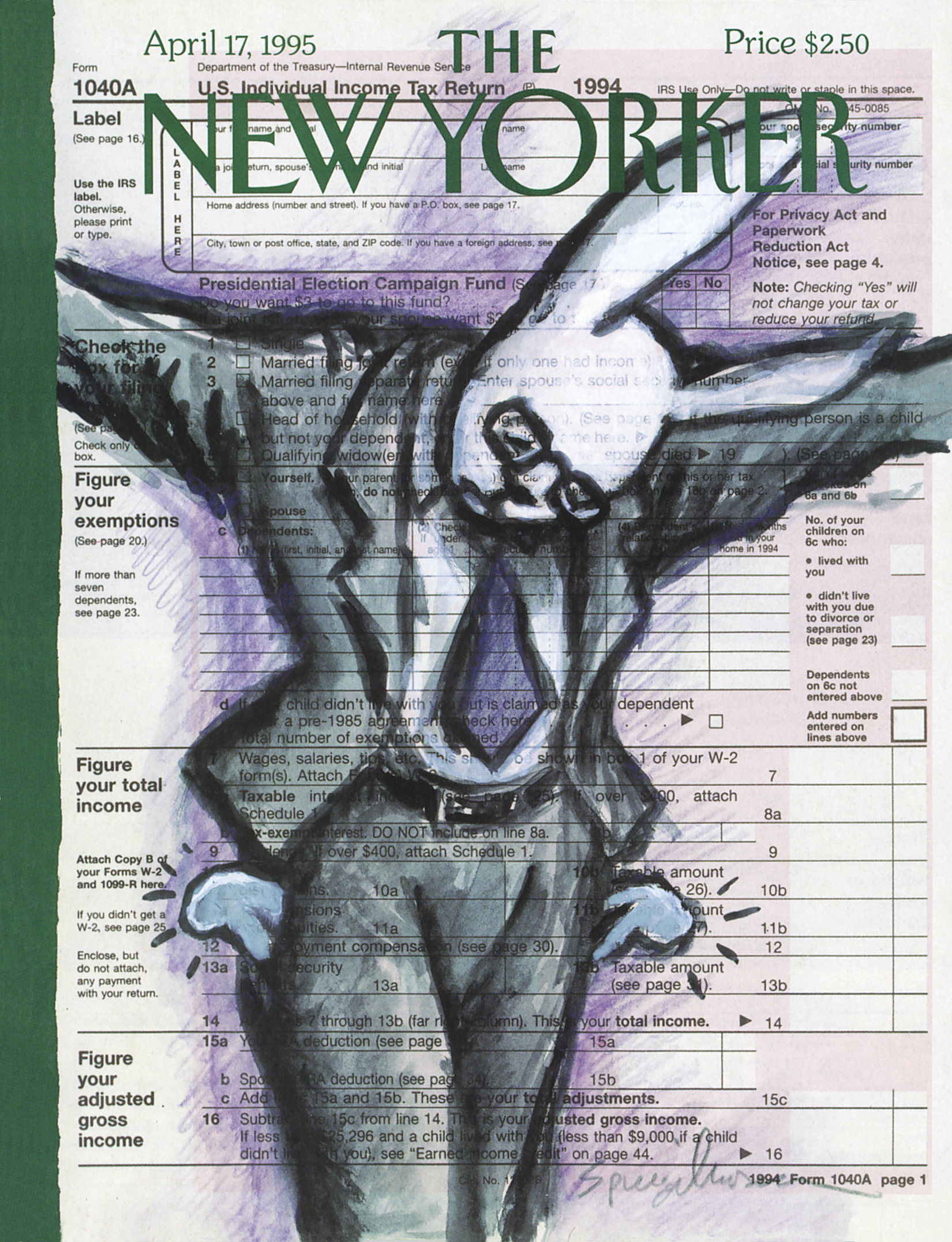 The April 17, 1995 issue of the <i>New Yorker</i>, commenting on Easter coinciding with tax season.