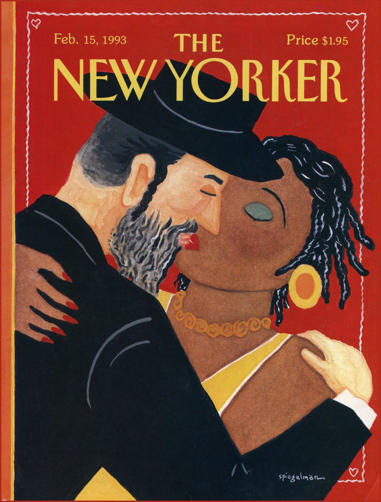 The Feb. 15, 1993 issue of the <i>New Yorker</i>, celebrating Valentine's Day, commenting on the 1991 Crown Heights riots sparked by tension between Jewish and African-American communities in Brooklyn.