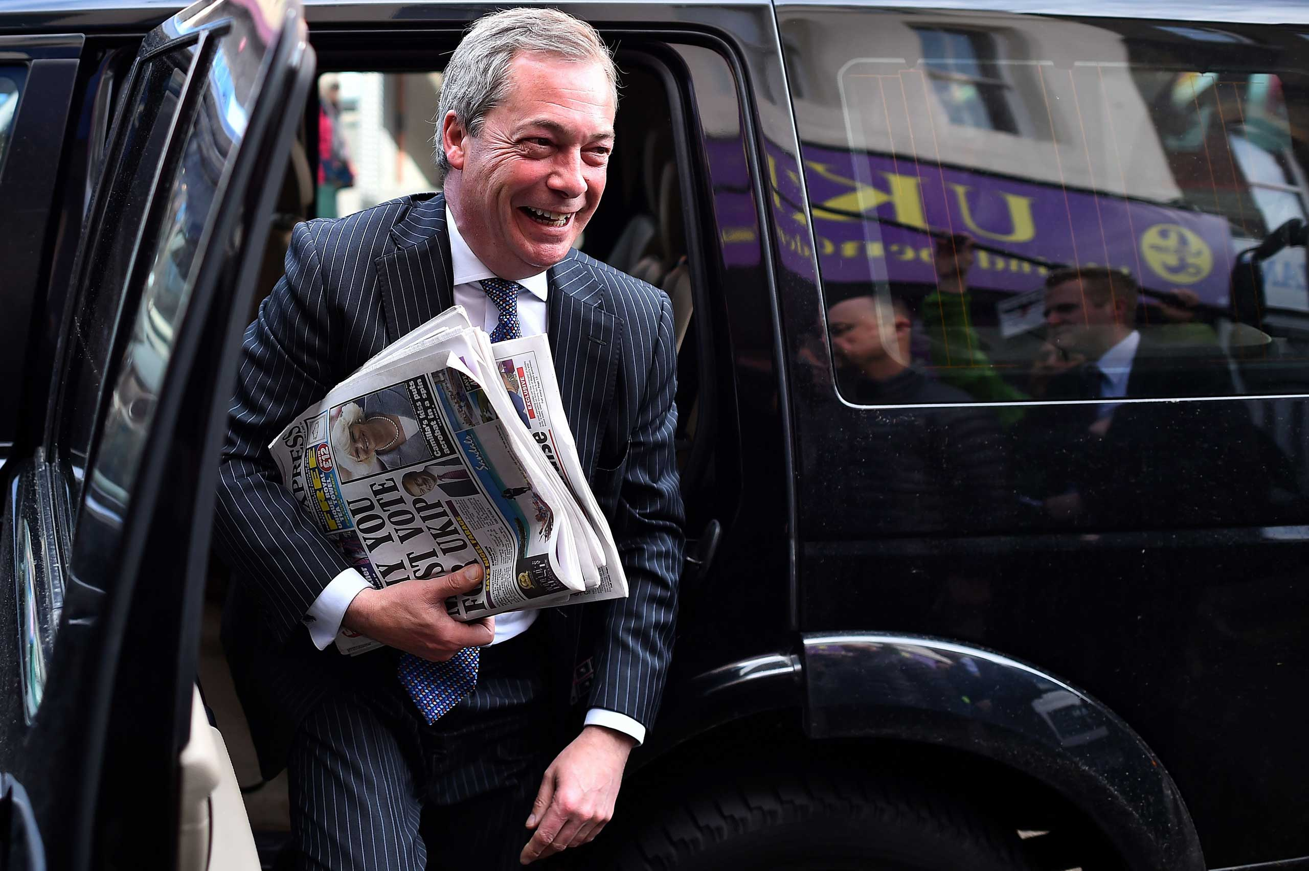 UK Independence Party leader Nigel Farage arrives for a campaign visit in Ramsgate in south east England on May 6, 2015, on the eve of a general election in Britain.