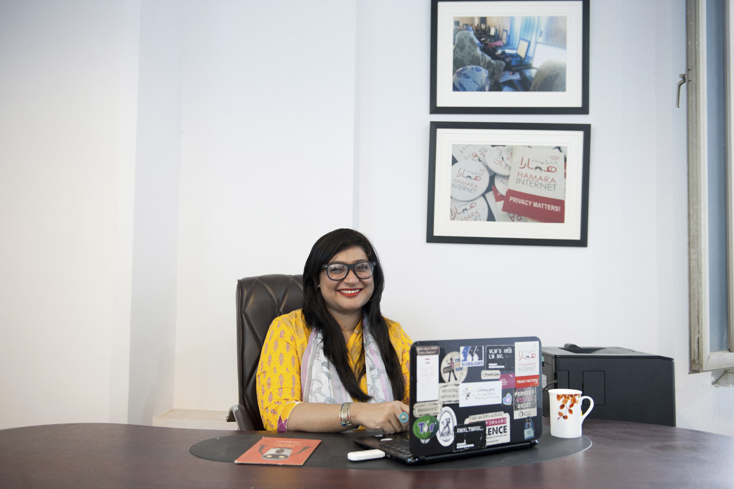 Nighat Dad, Director at Digital Rights Foundation at her office in Lahore, Pakistan April 6, 2015.