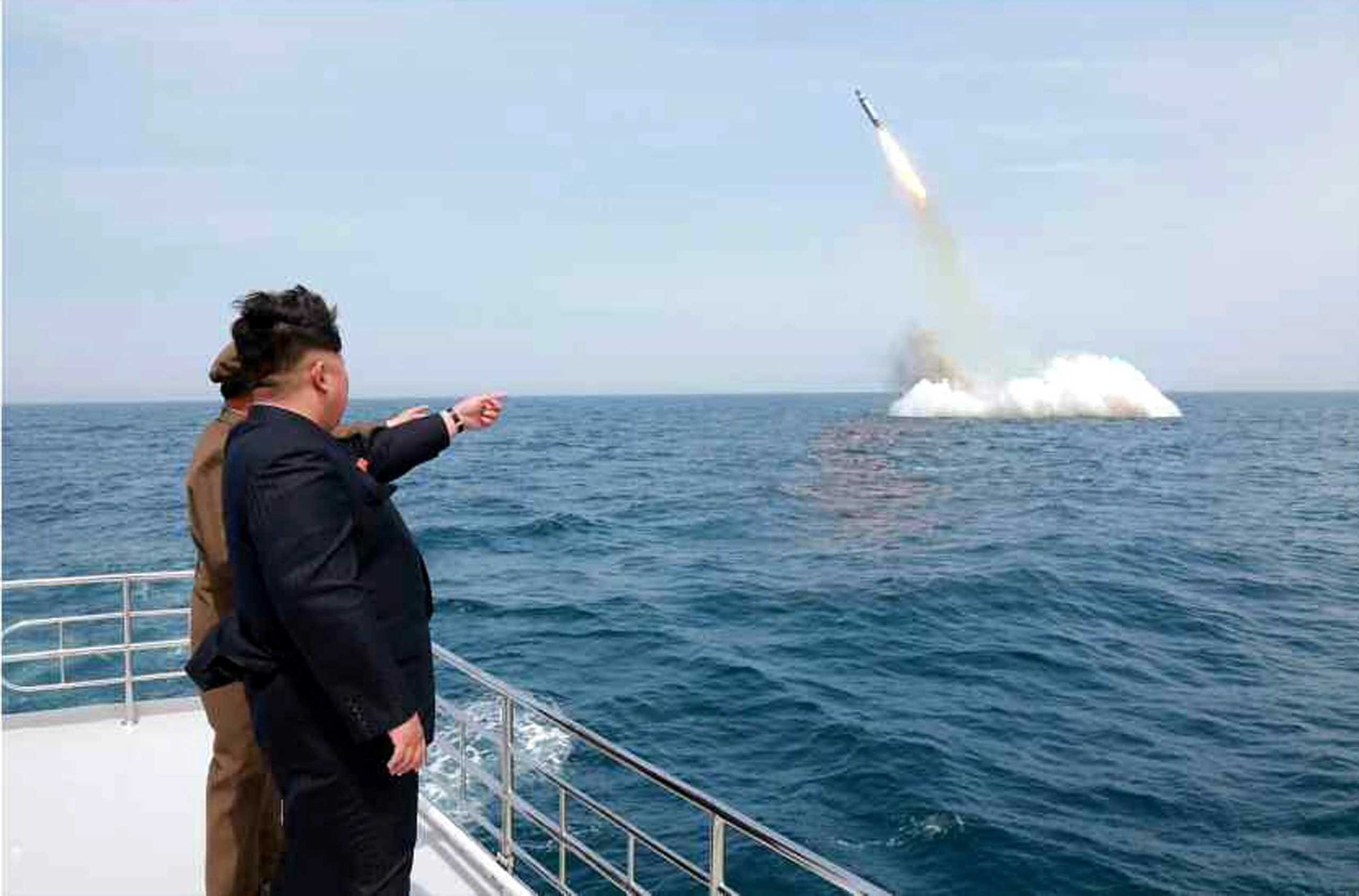 Photo showing North Korean leader Kim Jong-un at the scene of the alleged missile launch on May 9, 2015.