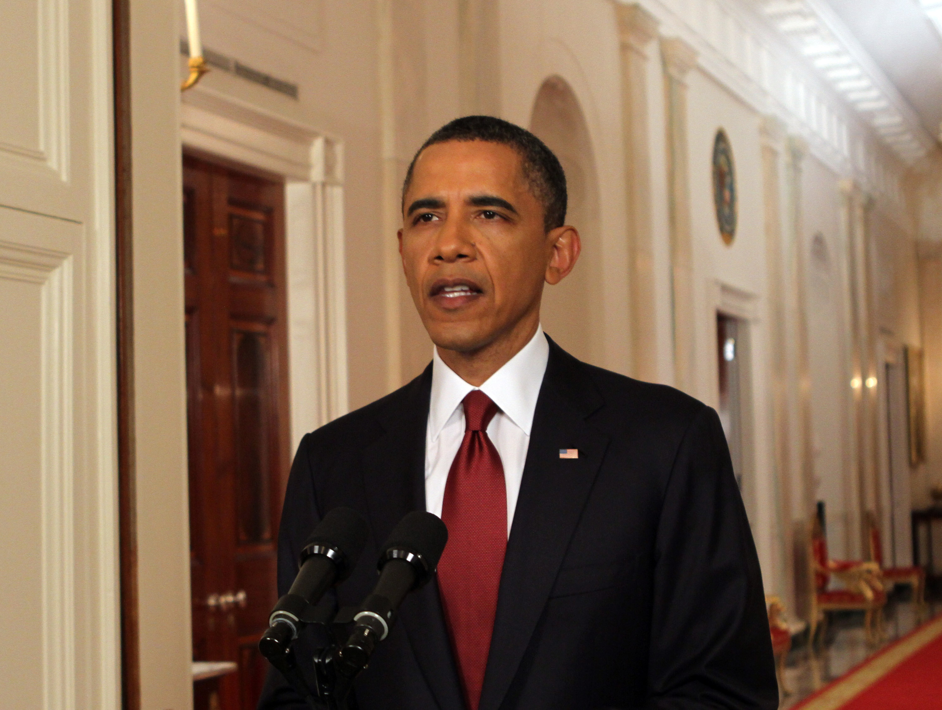 U.S. President Barack Obama announcing the death of Osama bin Laden at the White House in Washington on May 1, 2011