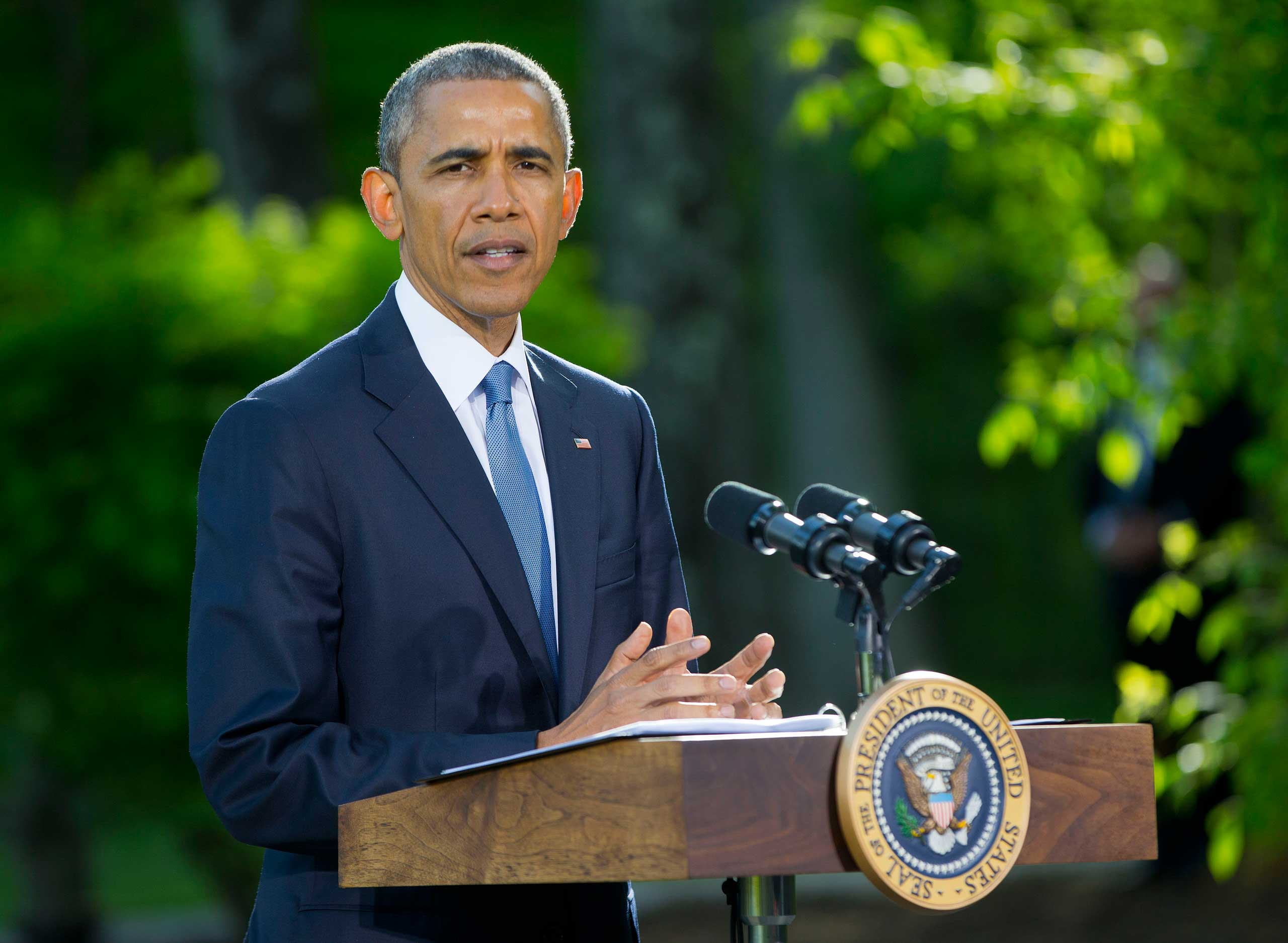 President Barack Obama speaks during a news conference after meeting with Gulf Cooperation Council leaders and delegations at Camp David in Maryland.
