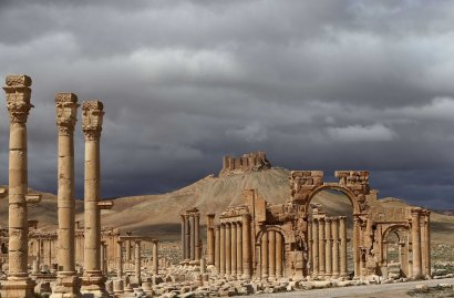 A partial view of the ancient oasis city of Palmyra, Syria in 2014.