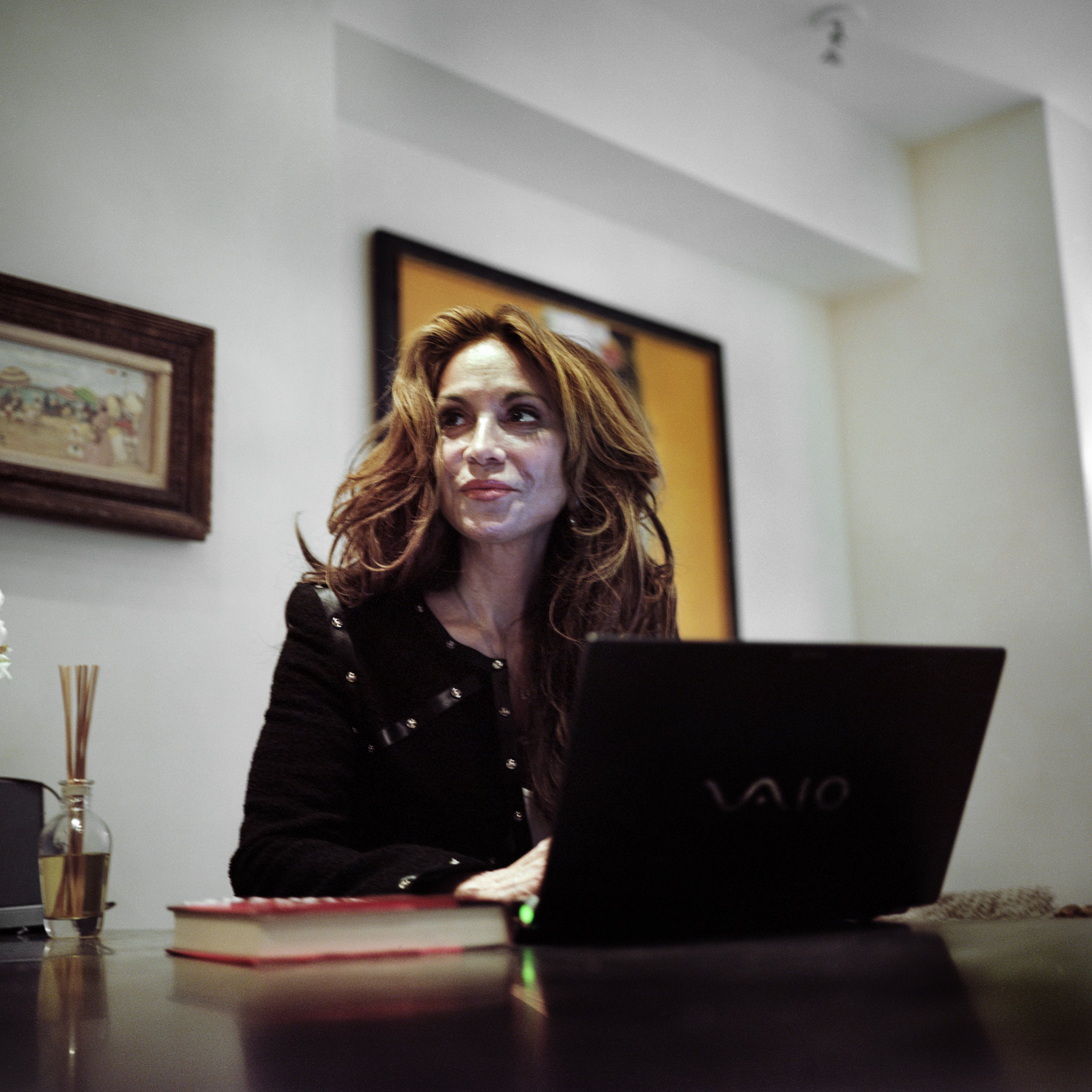 Pamela Geller, author of the book The Post-American Presidency answers emails inside her home on August 3, 2010 in New York City.