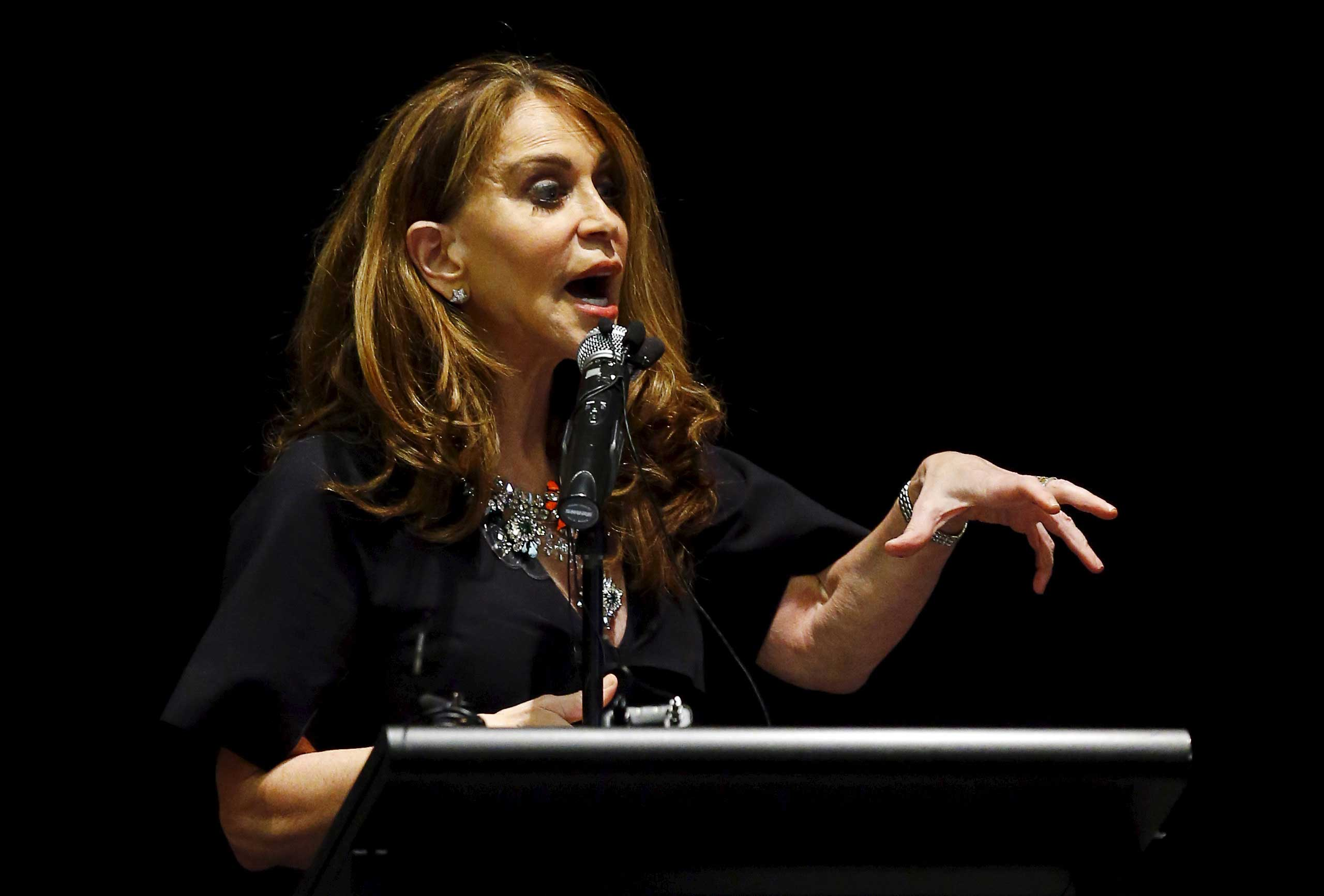 Political blogger Pamela Geller, American Freedom Defense Initiative's Houston-based founder, speaks at the Muhammad Art Exhibit and Contest, which is sponsored by the American Freedom Defense Initiative, in Garland, Texas May 3, 2015.