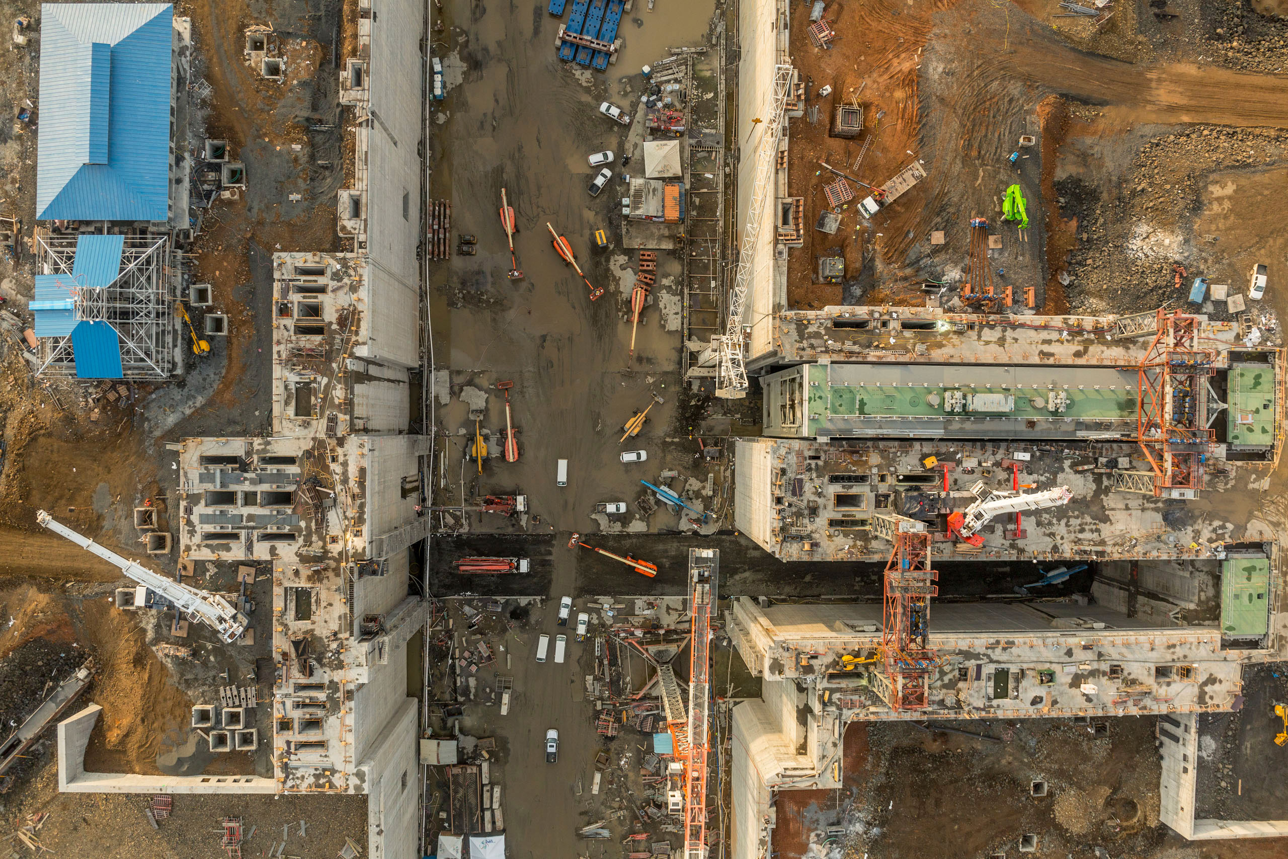 Overview showing part of a lock on the Pacific side of the Panama Canal Expansion project, April 22, 2015.