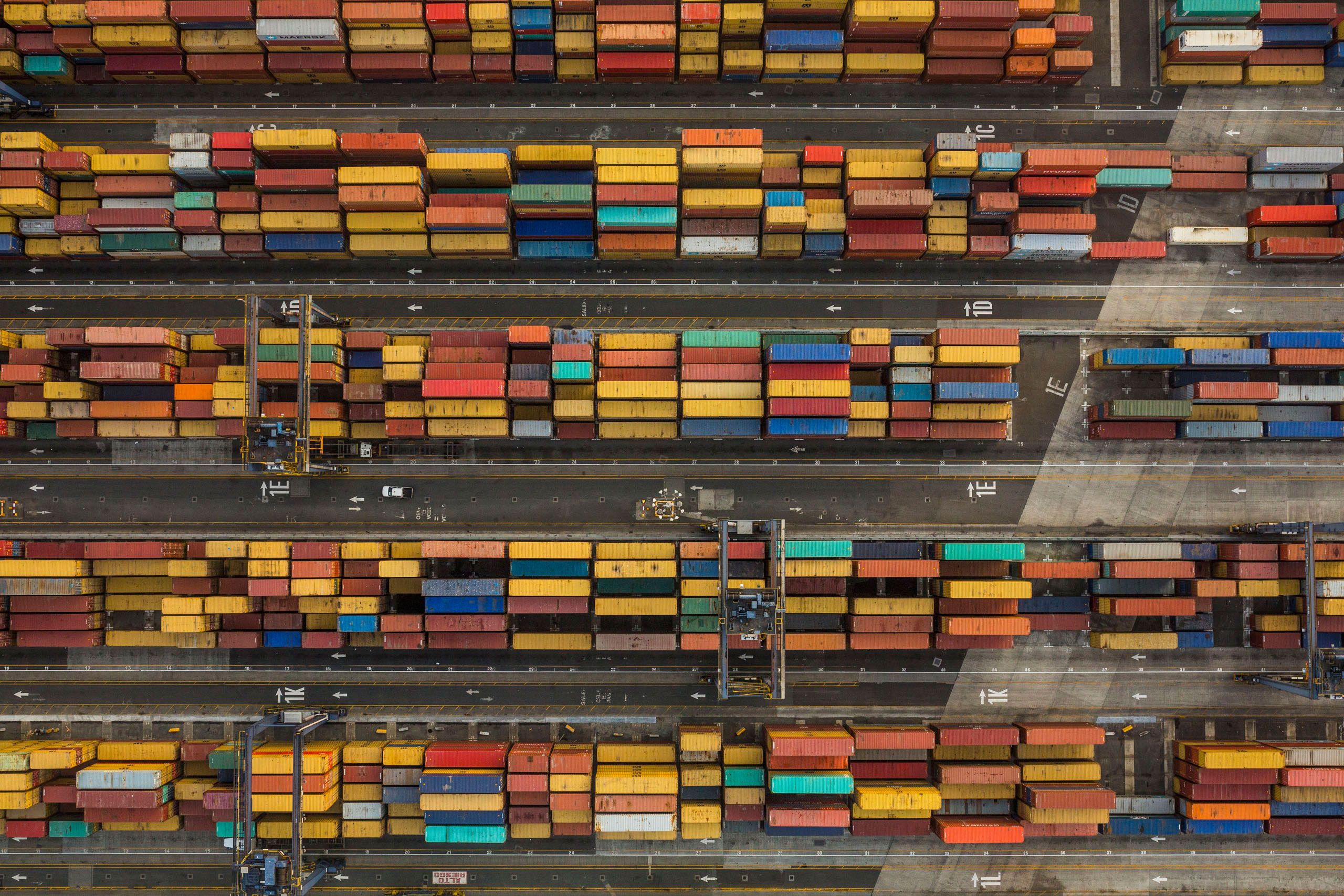 Container cargo yard on the Panama City side of the canal, where containers are transported by rail across the Isthmus of Panama, April, 22, 2015.