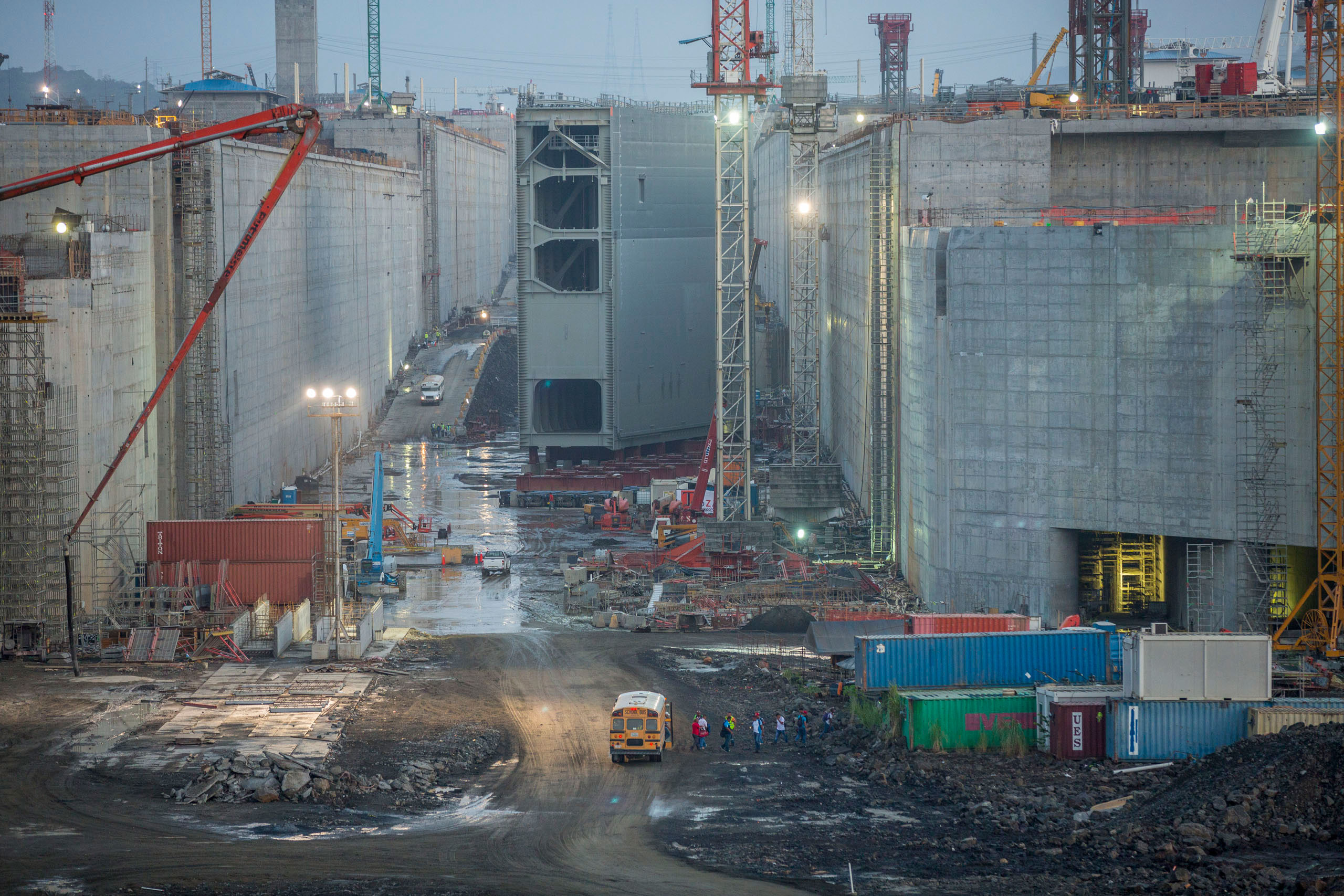 The final lock gate waits to be installed on the Pacific side of the   Panama Canal Expansion project, April 23, 2015.