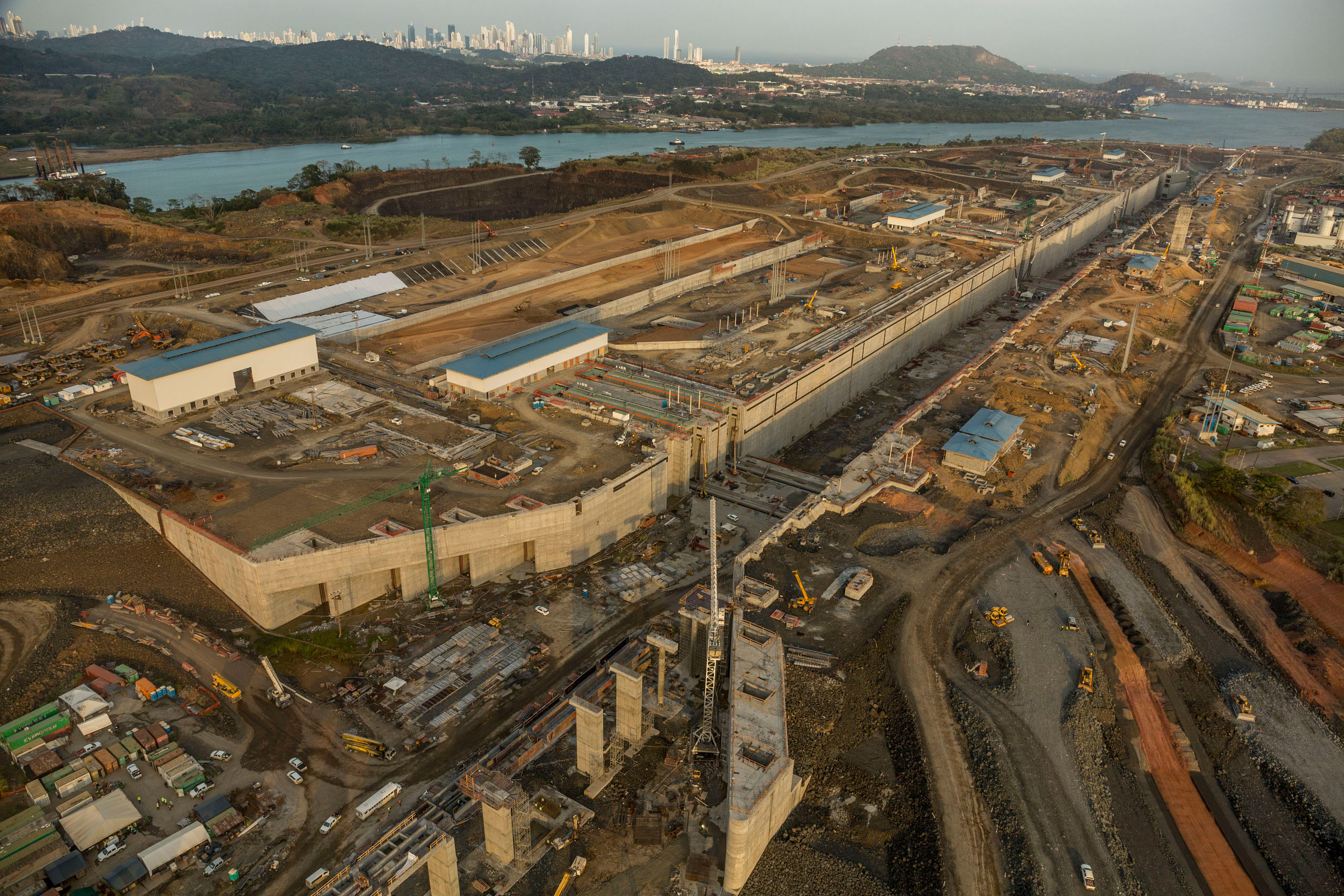 View of the Panama Canal Expansion project on the Pacific side, April 23, 2015.