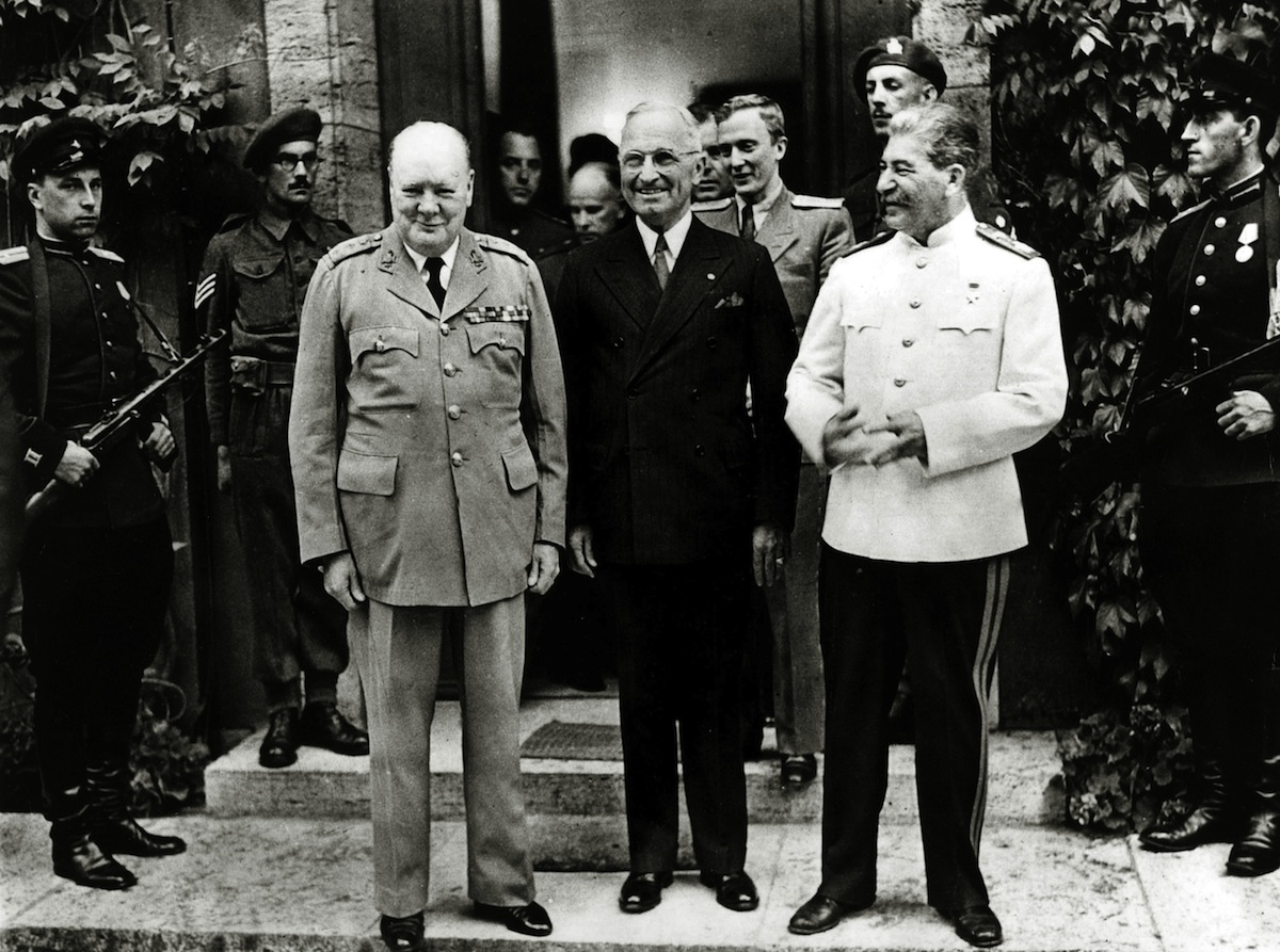 President Harry S, Truman, centre pictured with Winston Churchill and Josef Stalin at the Potsdam Conference