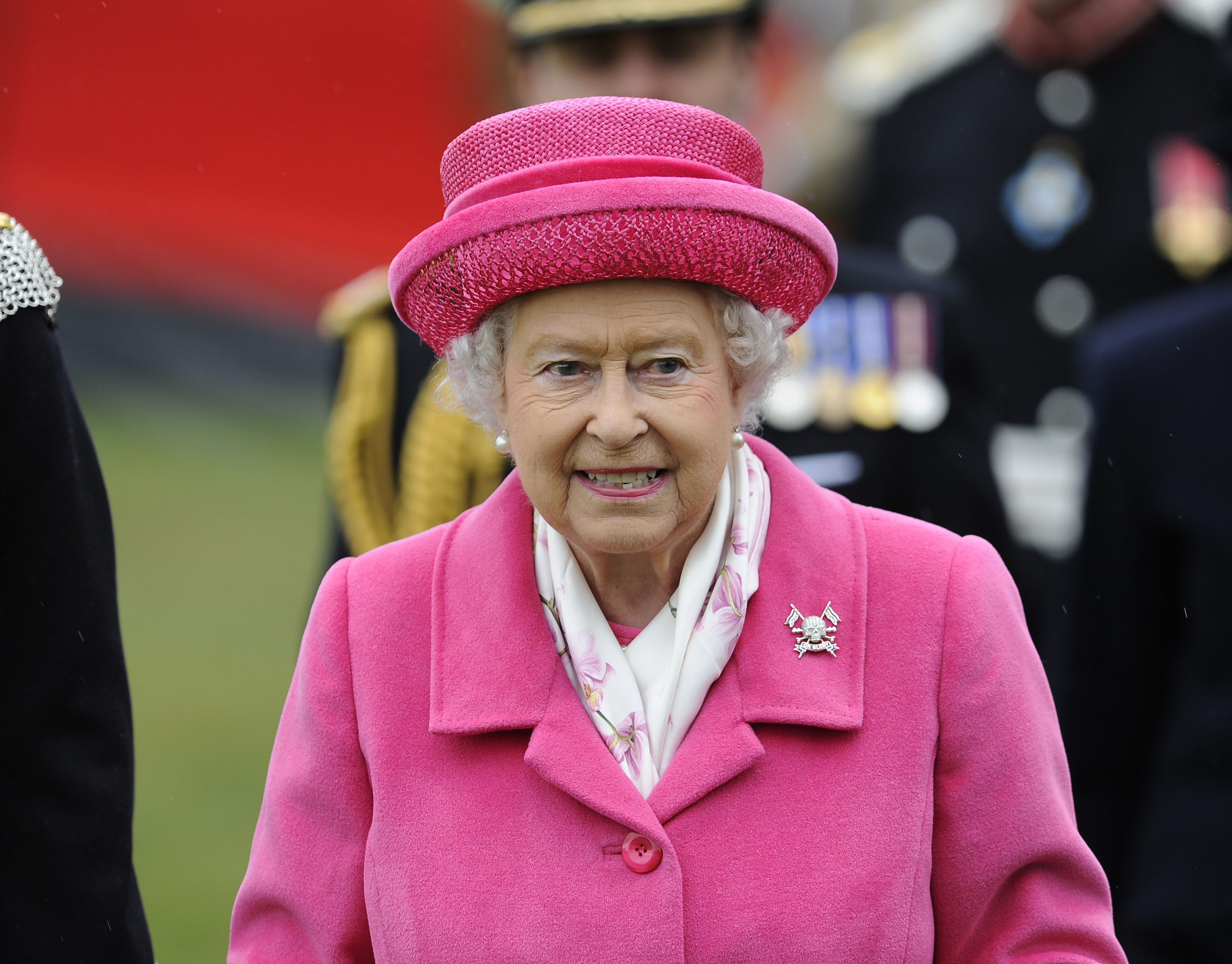 Queen Elizabeth II during a visit to Richmond Castle to attend the amalgamation parade of The Queen's Royal Lancers and 9th/12th Royal Lancers on May 2, 2015.