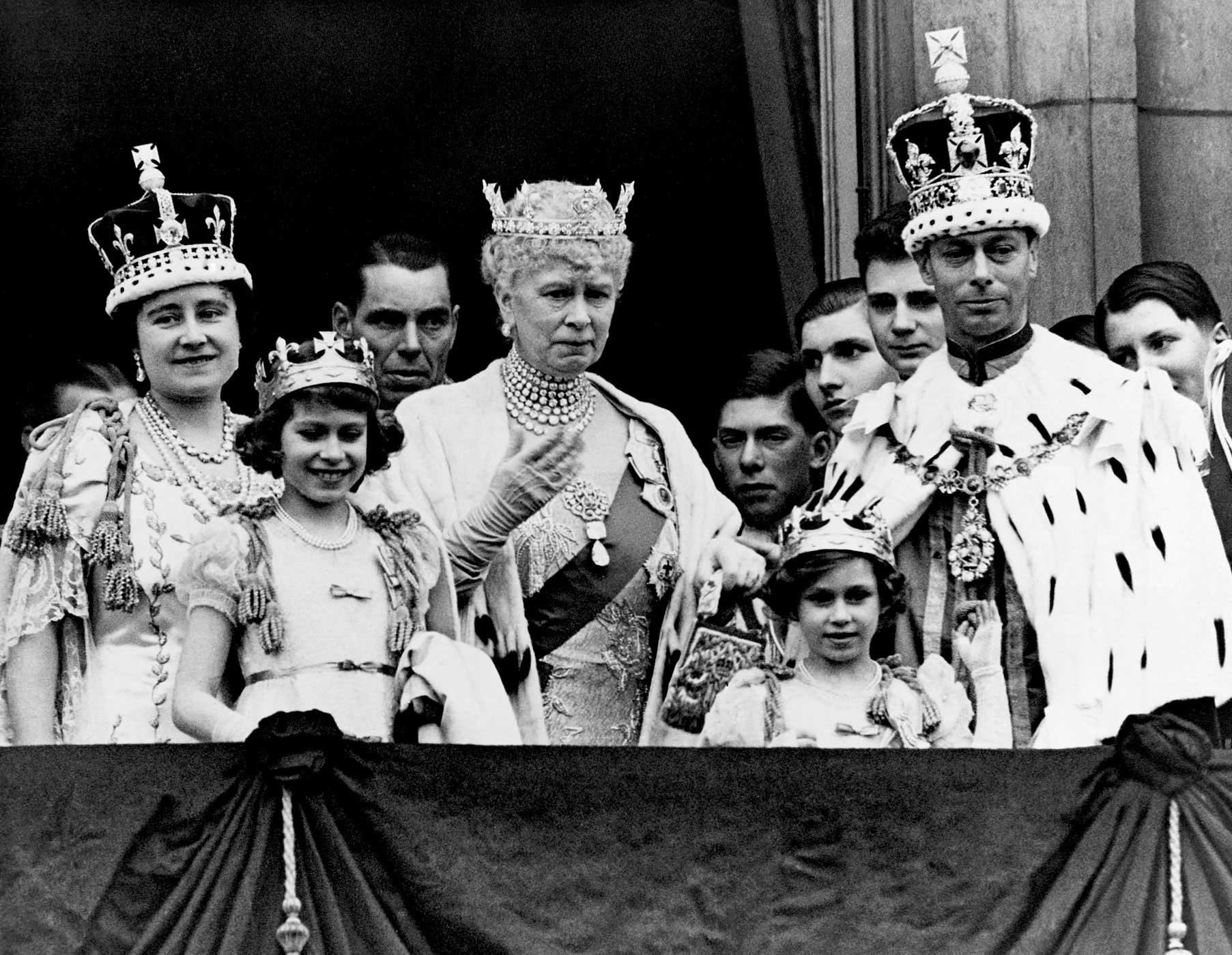 The royal family on the balcony at Buckingham Palace after the coronation of King George VI on May 13, 1937. After George's older brother Edward abdicated the throne to marry a socialite divorcée named Wallis Simpson, Elizabeth's father became King. As the oldest child, 11-year-old Elizabeth became the heir presumptive to the throne.