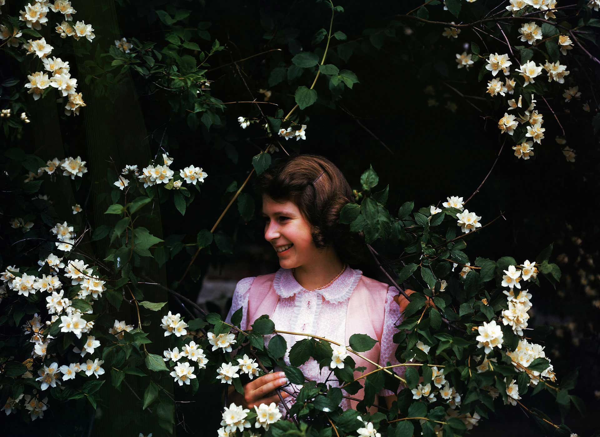 Princess Elizabeth, age 15, poses amid Syringa flowers at Windsor in the summer of 1941. Even at a young age, friends and relatives uniformly say, the royal was responsible and sensible.