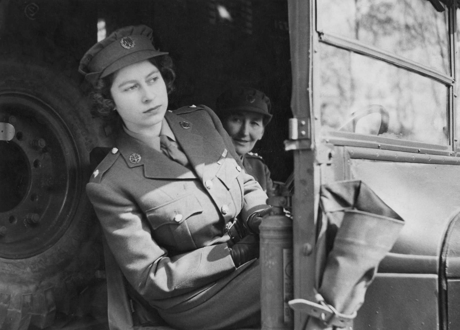 Princess Elizabeth drives an ambulance on April 10, 1945. Just two months earlier, the Princess had joined the Auxiliary Territorial Service, which was the women's arm of the British army. She trained as a driver and mechanic.