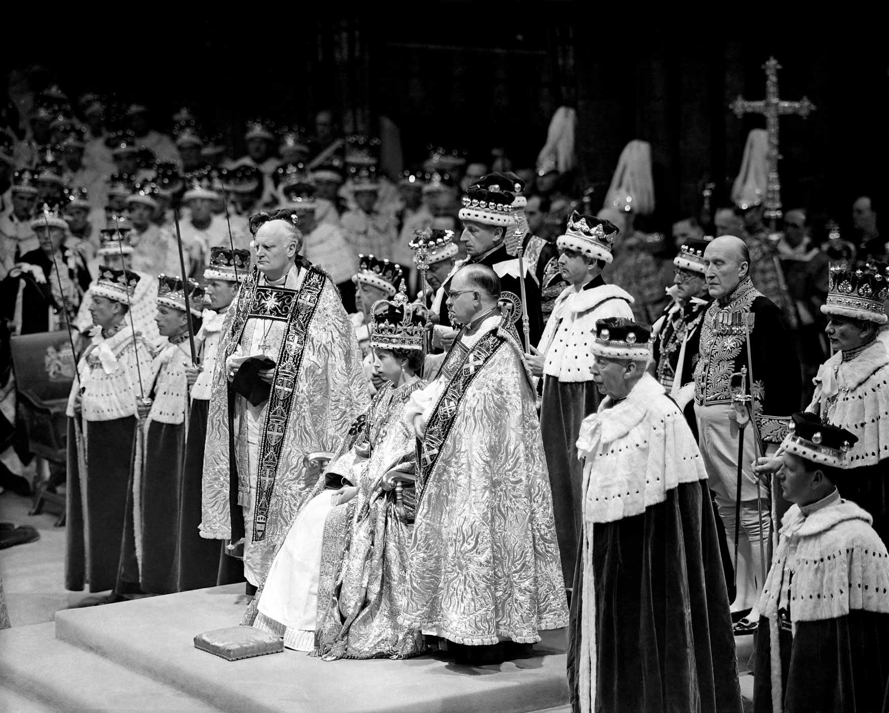 On June 2, 1953, the Queen's coronation took place at Westminster Abbey in London. It marked the first time a royal coronation was televised.