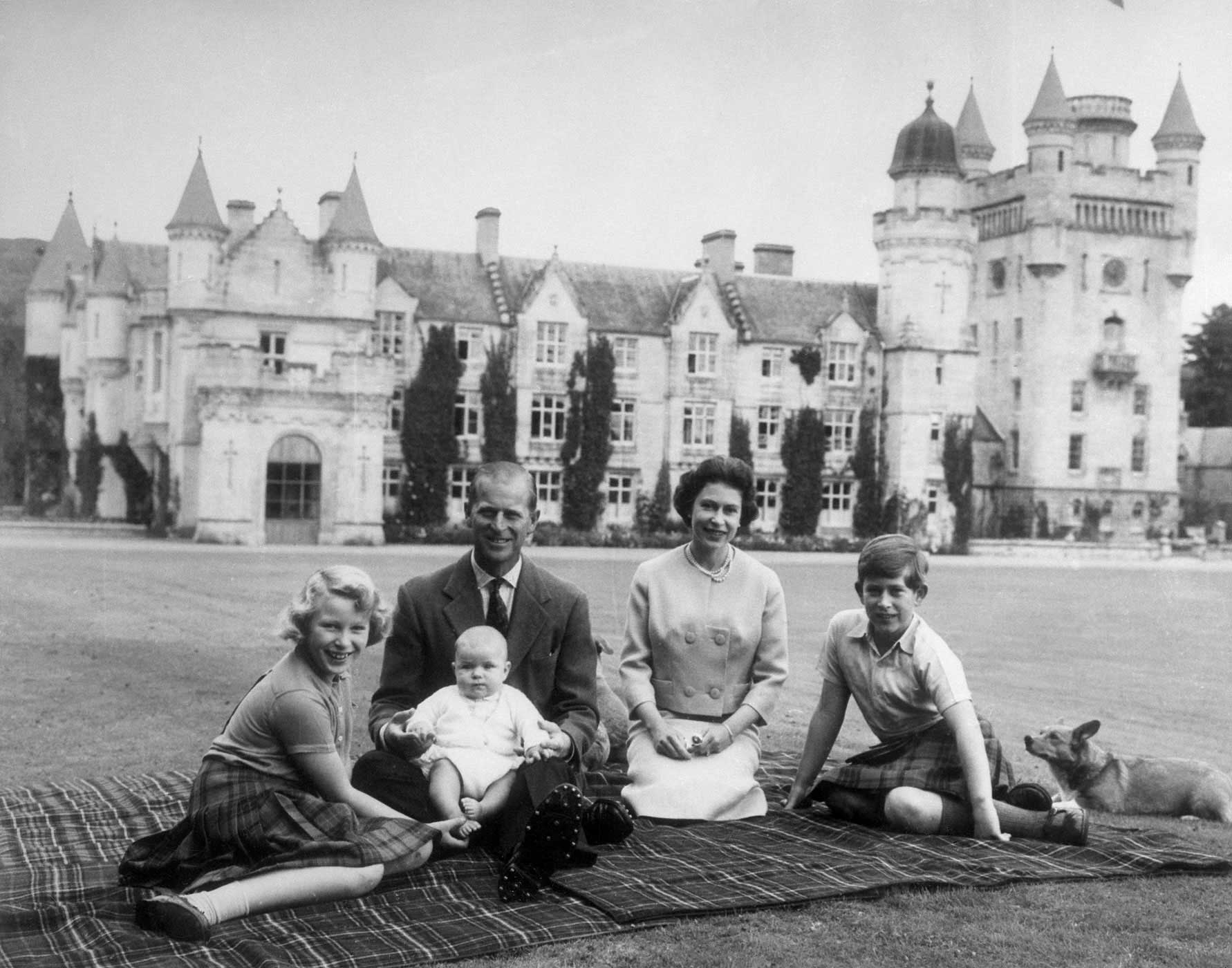 A family portrait during a picnic at Balmoral Castle in Aberdeenshire, Scotland, on Sept. 8, 1960. After the births of Prince Charles and Princess Anne, Elizabeth and Philip's family continued to expand with the arrival of Prince Andrew on Feb. 19, 1960.