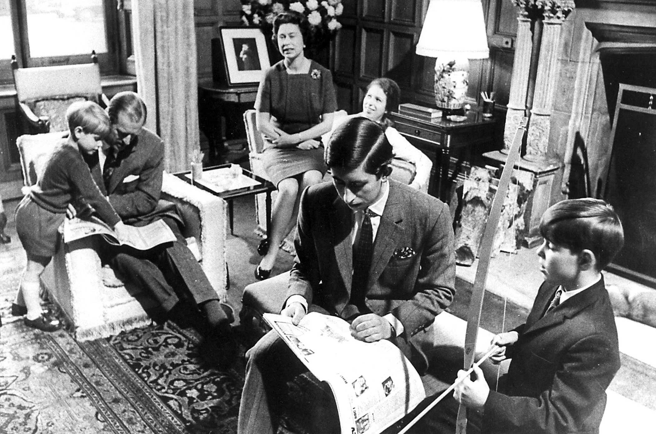 The royal family spends time together at home. With the arrival of Prince Edward, far left, on March 10, 1964, Prince Philip and Queen Elizabeth II's brood of children was complete.