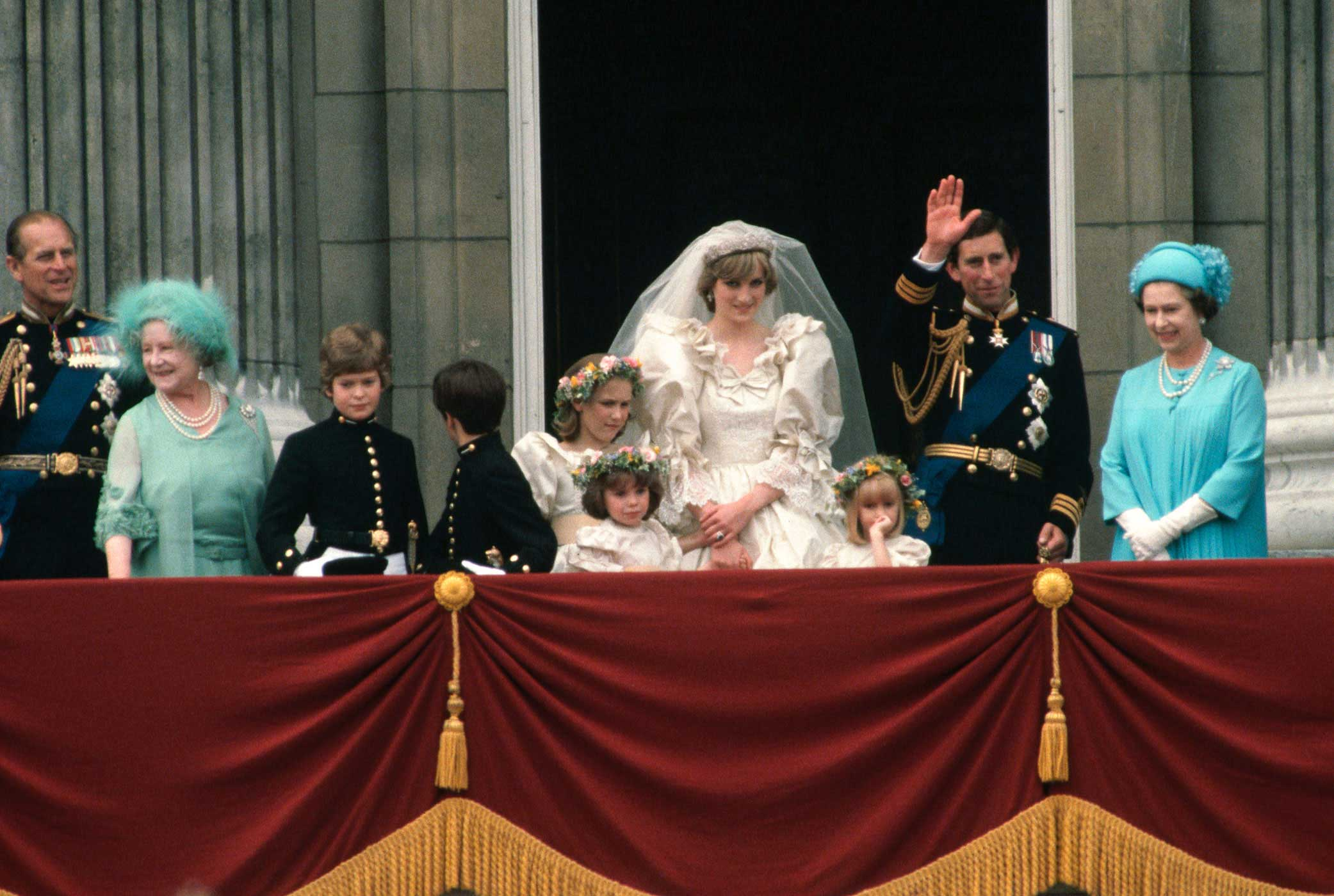 Prince Charles and Princess Diana greet the public on a Buckingham Palace balcony, along with members of the royal family, following their wedding on July 29, 1981. Their tumultuous marriage and messy divorce would be fodder for the British press for years to come.