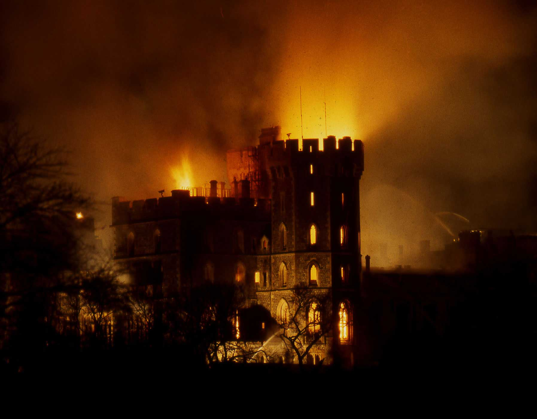A fire broke out in Windsor Castle on November 20, 1992, when a curtain caught fire from a spotlight.
