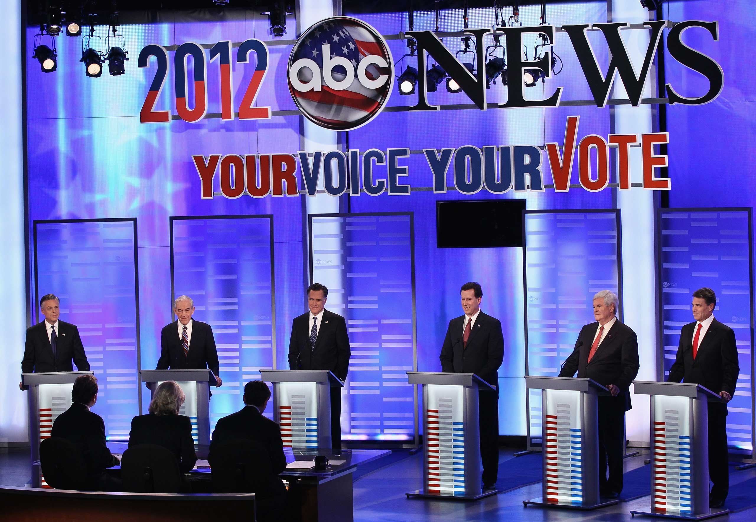 Republican presidential candidates are introduced during the ABC News, Yahoo! News, and WMUR Republican Presidential Debate at Saint Anselm College in Manchester, N.H. on Jan. 7, 2012.