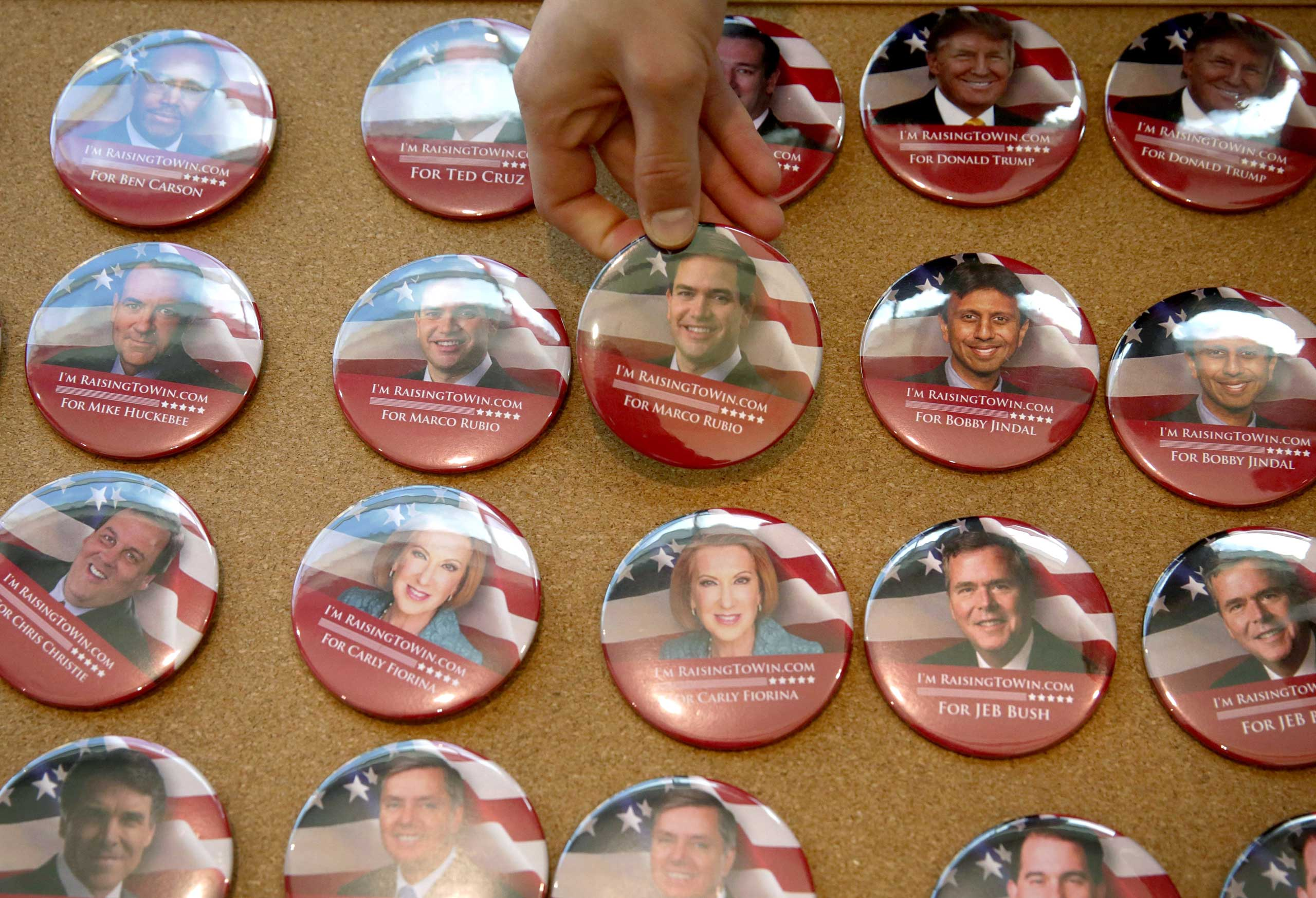 Buttons featuring Republican presidential hopefuls on display during the 2015 Southern Republican Leadership Conference in Oklahoma City on May 21, 2015.
