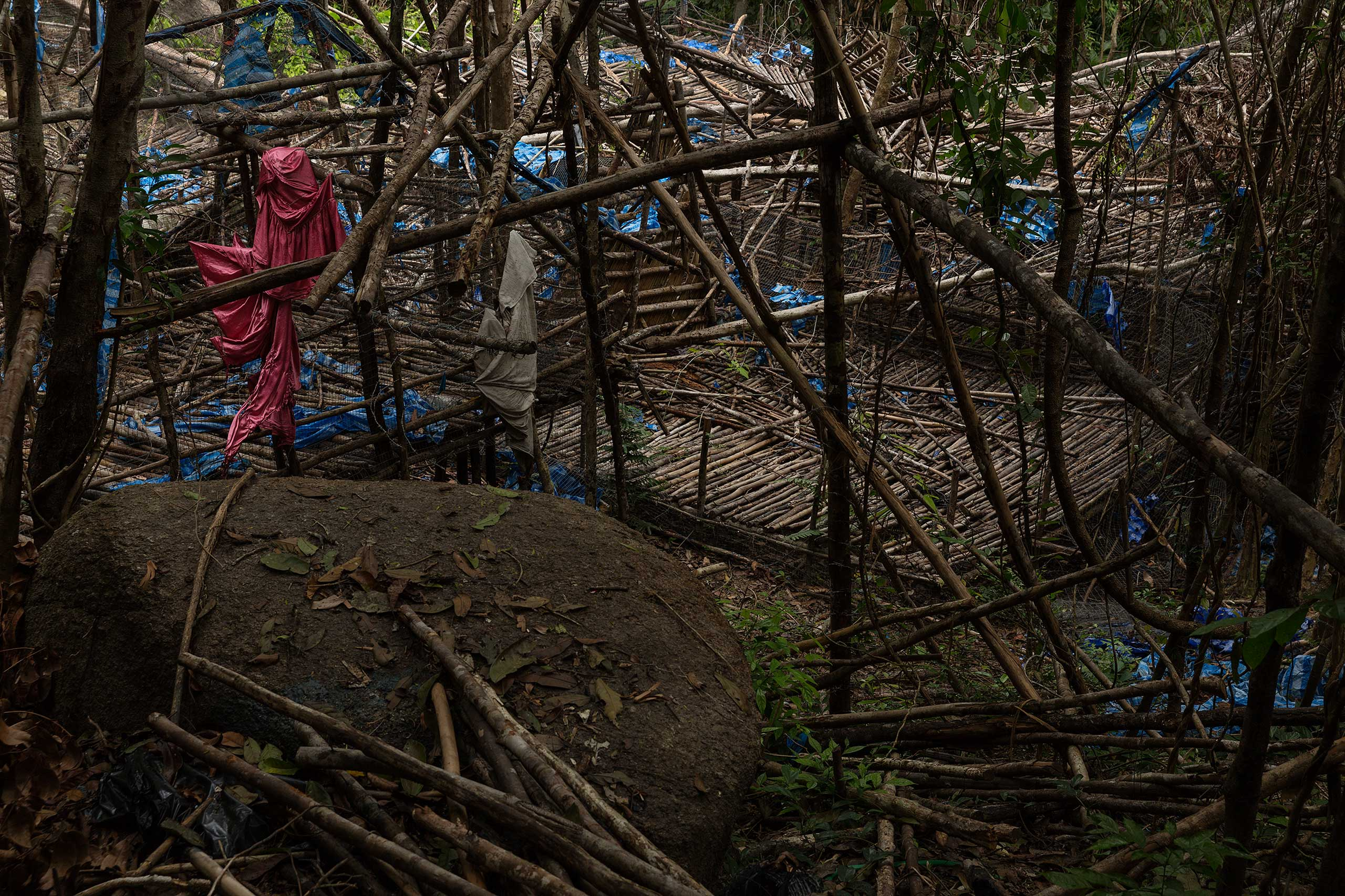 An abandoned camp allegedly for trafficked Rohingya and Bangladeshis in mountainous jungle on the Malaysian side of the Thai-Malaysian border.