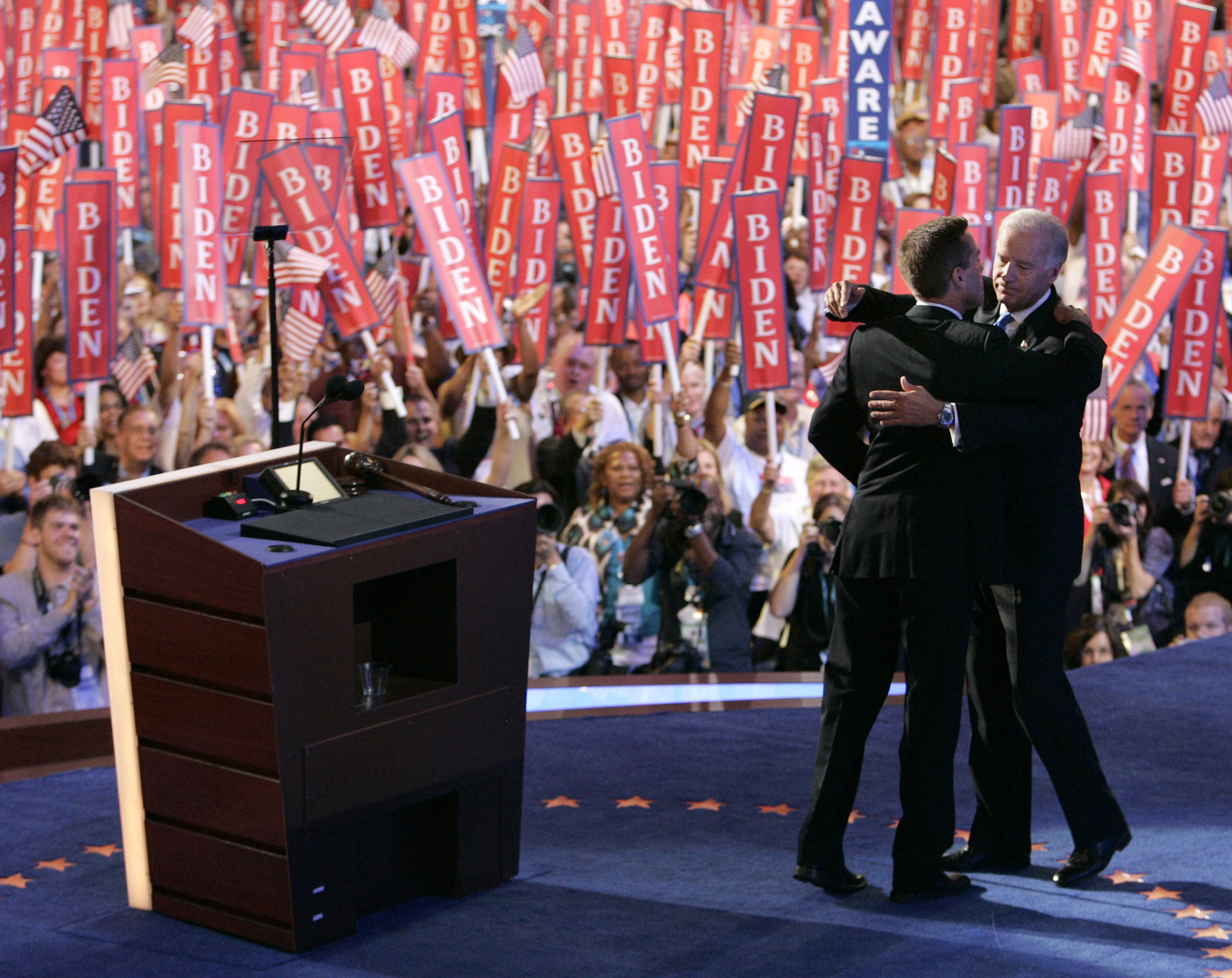 Then Senator Joe Biden embraces his son after his son introduced him at the 2008 Democratic National Convention in Denver, Colorado, August 27, 2008.
