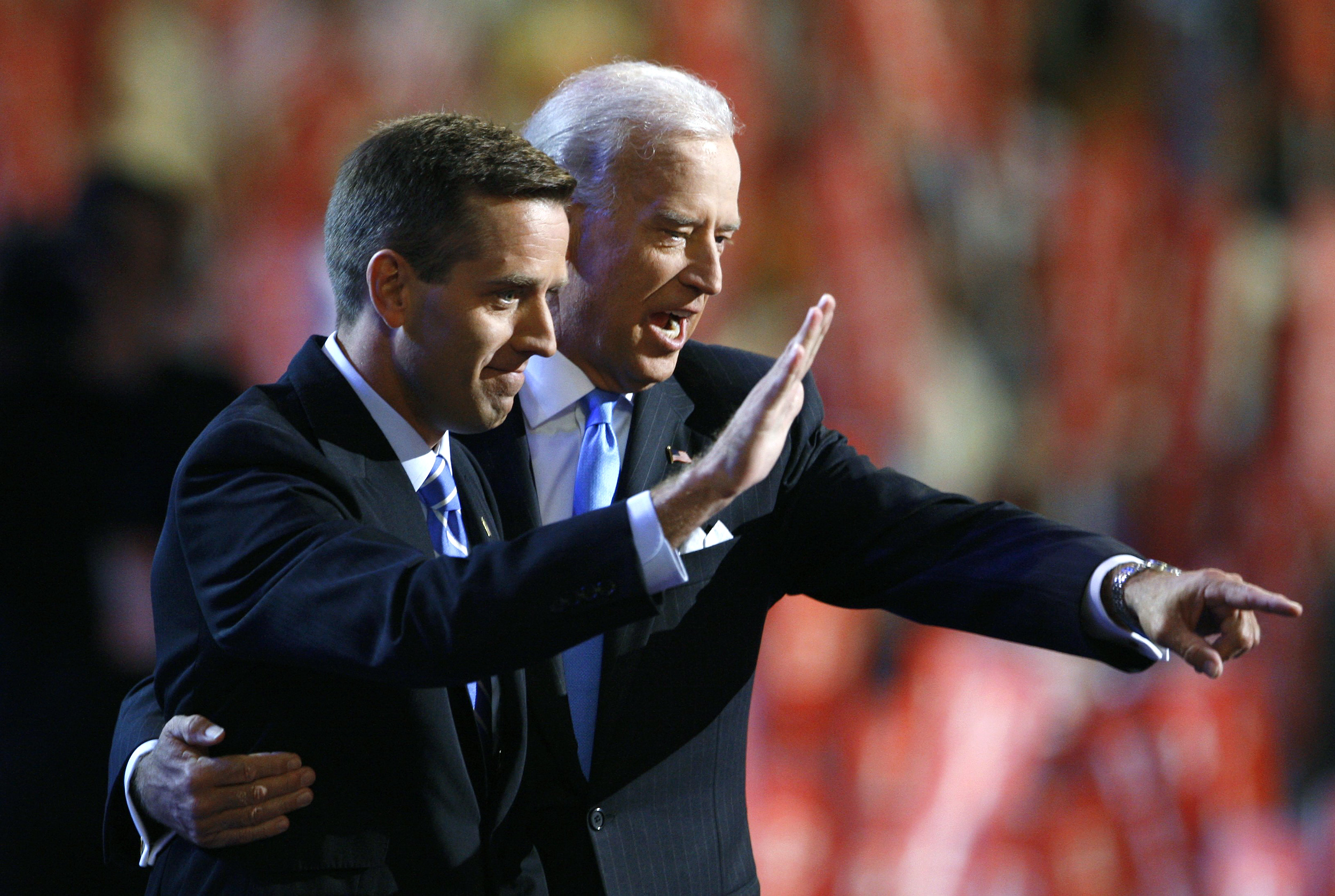 Beau Biden with then Vice Presidential candidate Senator Joe Biden on stage at the 2008 Democratic National Convention in Denver, Colo. August 27, 2008.