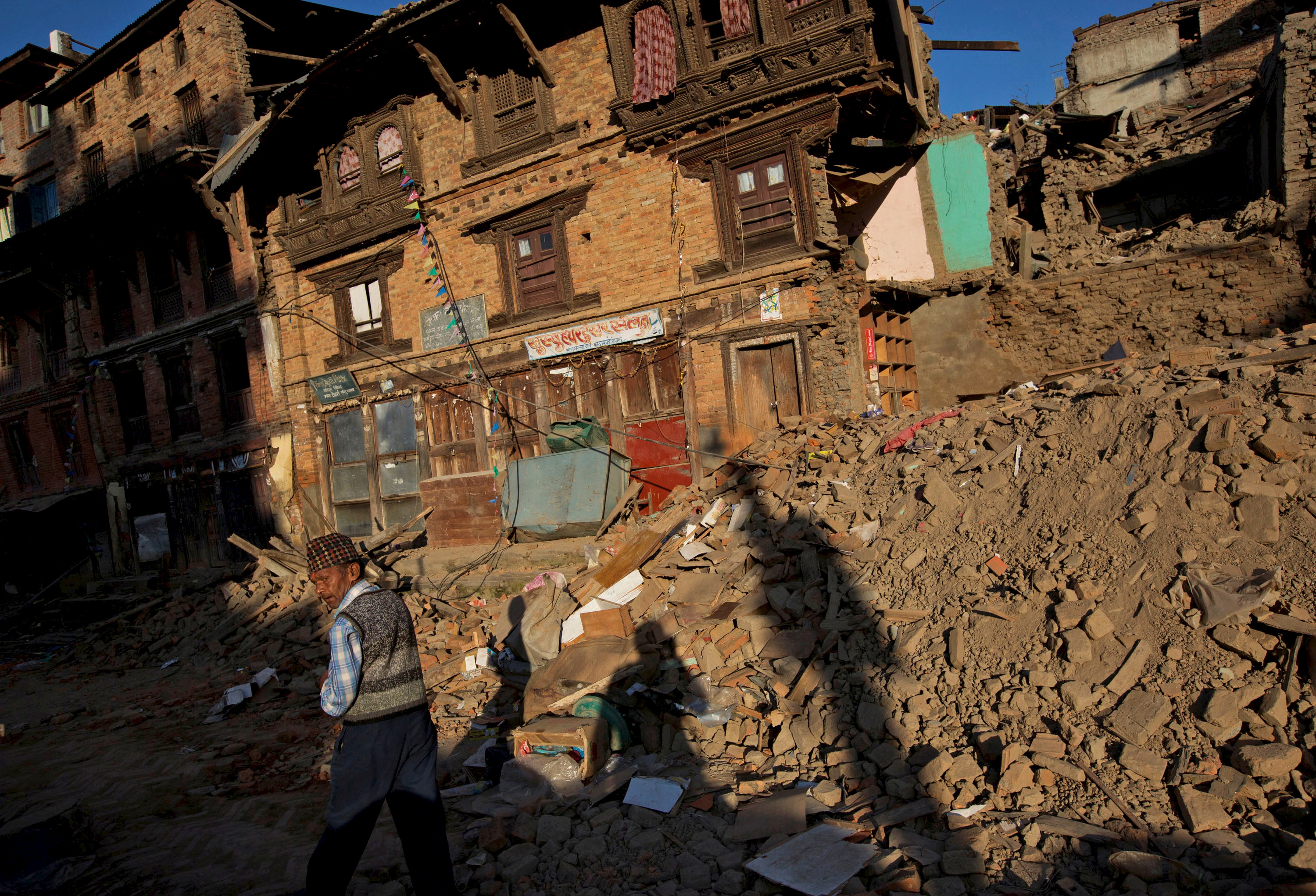 A street of near collapsed traditional houses in Sankhu, on the outskirts of Kathmandu on May 4, 2015