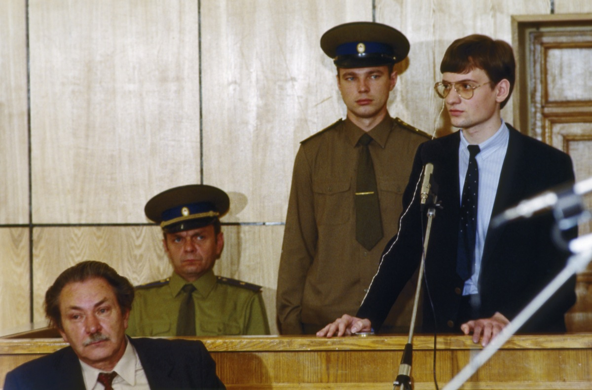 Mathias Rust, a west german teenager who landed a Cessna sports plane in Red Square on May 28, 1987, on trial for invading Soviet air space.