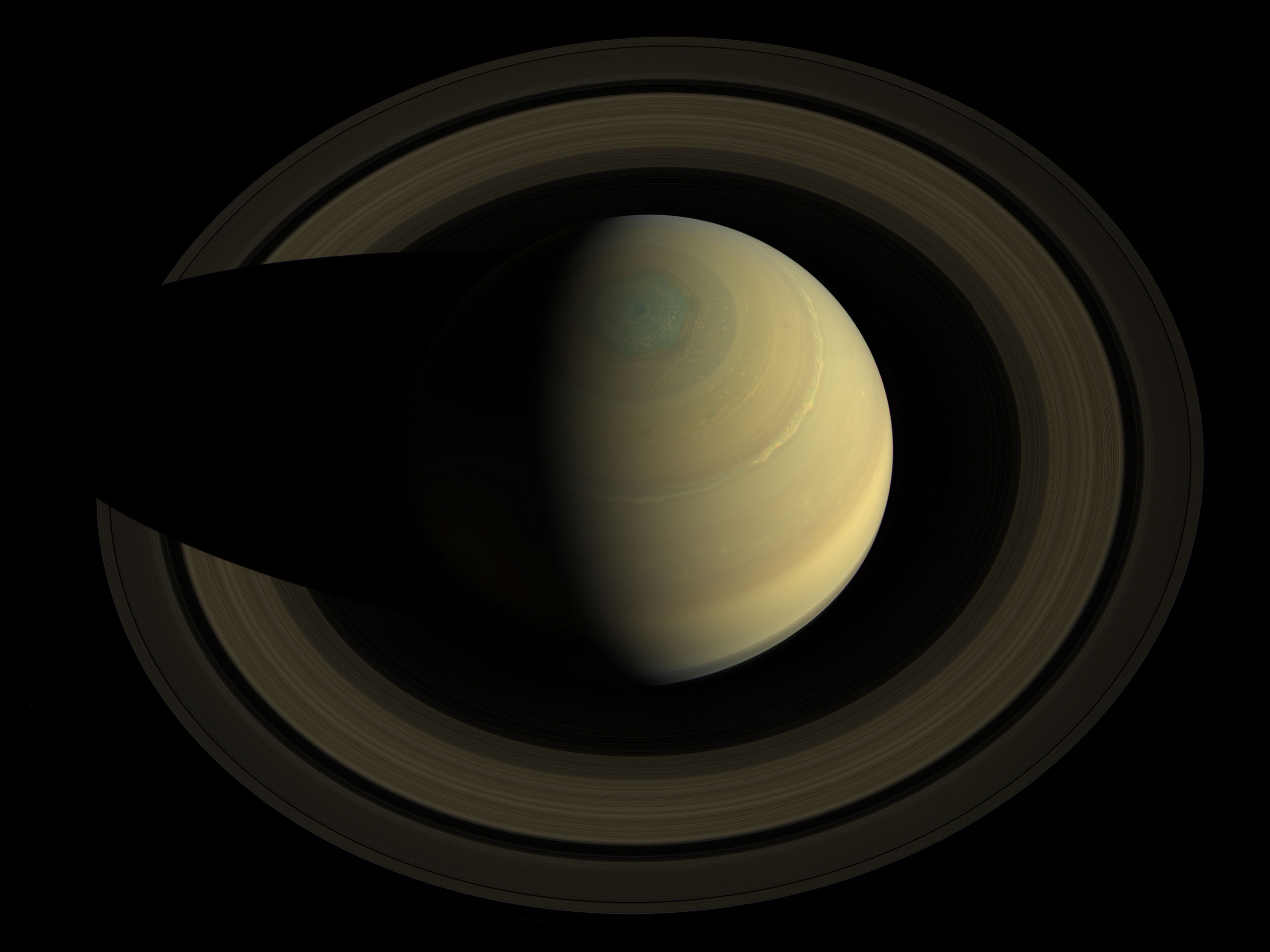 A swing high above Saturn by NASA's Cassini spacecraft revealed this stately view of the golden-hued planet and its main rings on Oct. 10, 2013.