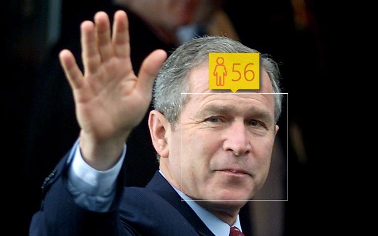 George W. Bush in April 2001. Real age: 54