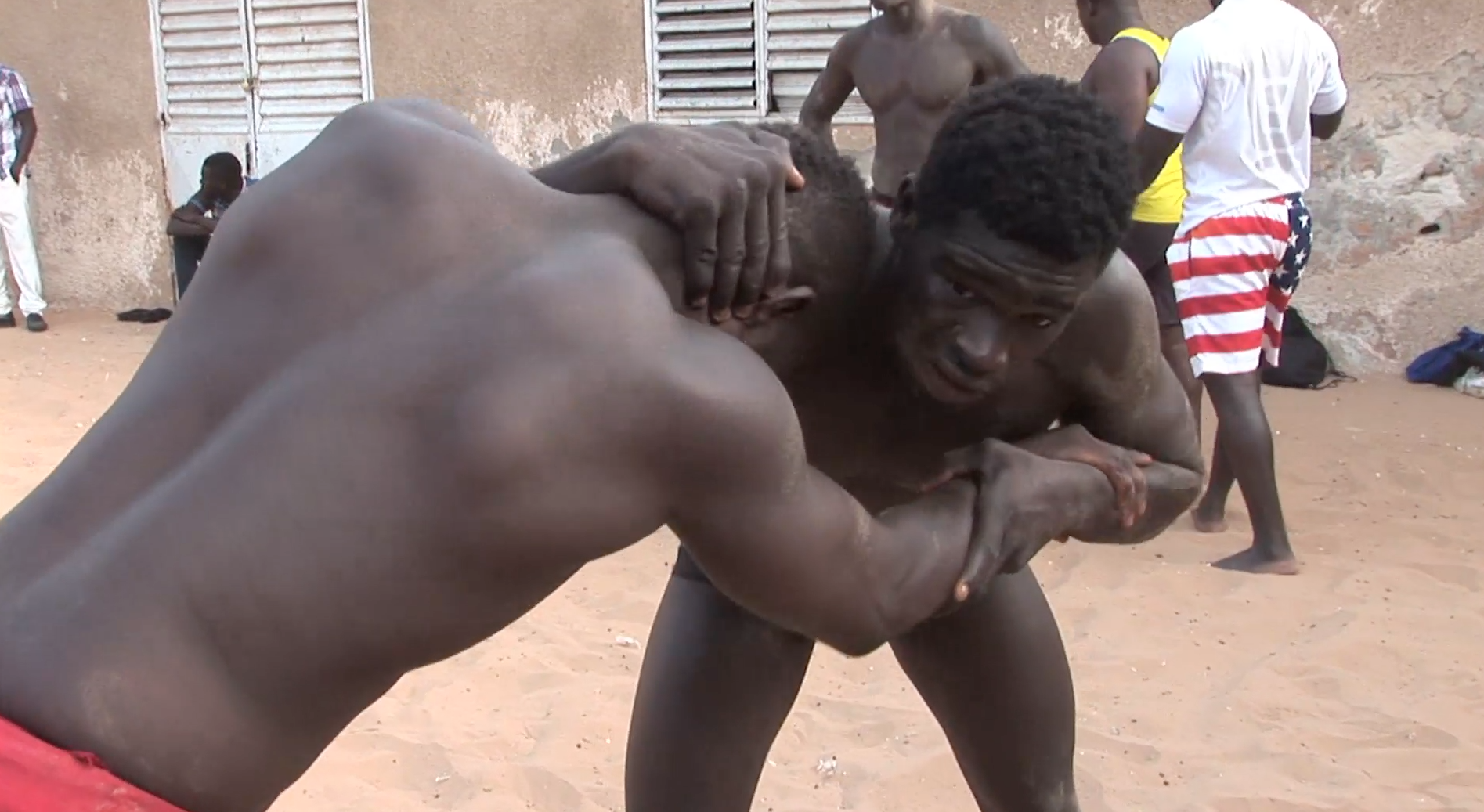 Wrestlers train in Dakar, Senegal.