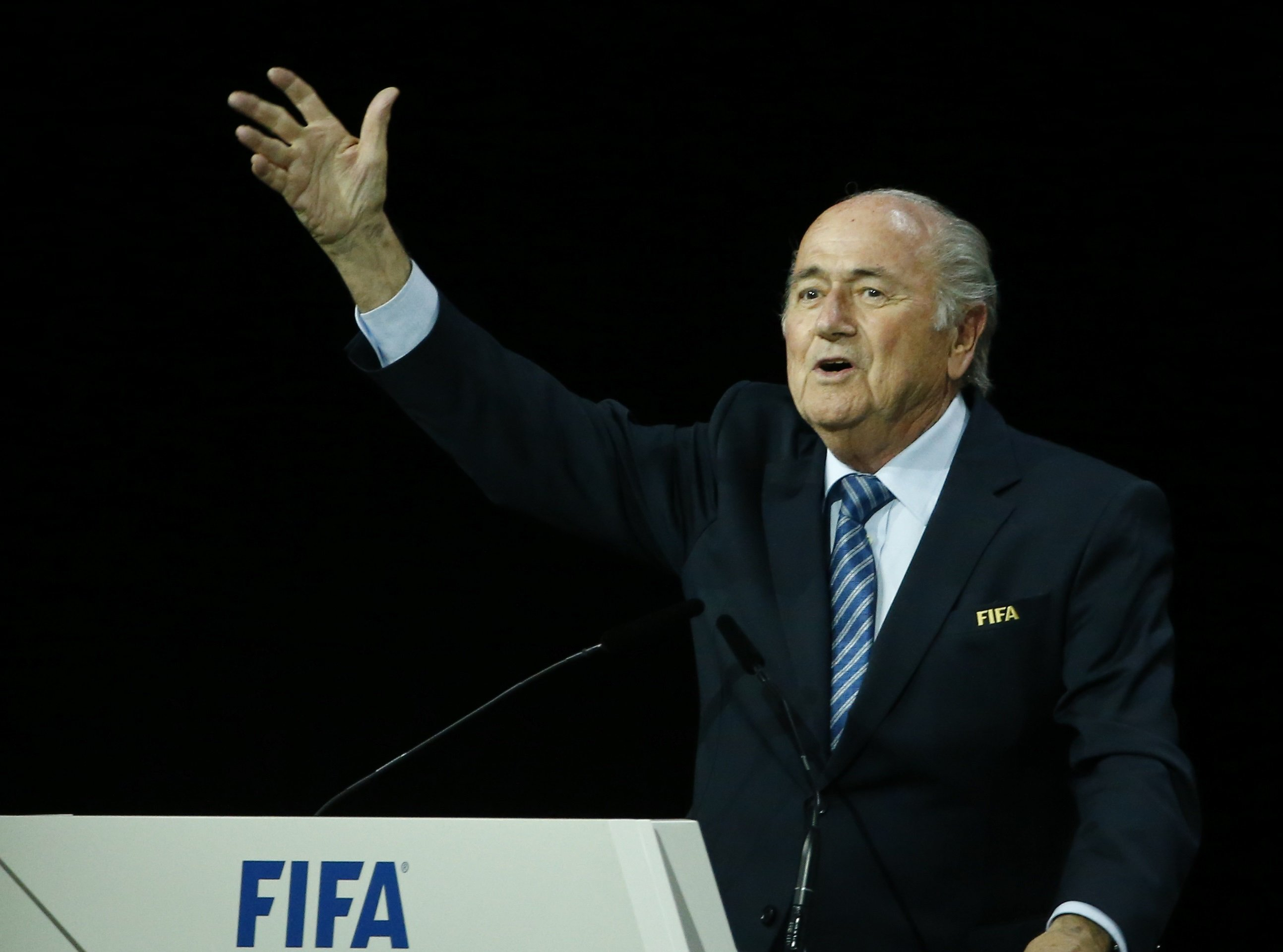 FIFA President Sepp Blatter speaks after he was re-elected at the 65th FIFA Congress in Zurich on May 29, 2015.