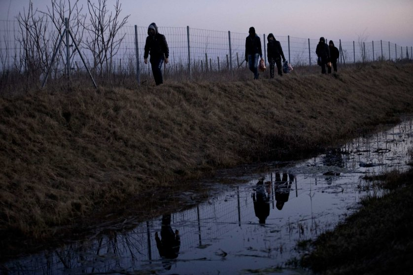 Afghan migrants trek their way to the Serbian border with Hungary close to Hajdukovo, 90 miles north of Belgrade, Serbia on Feb. 17, 2015,