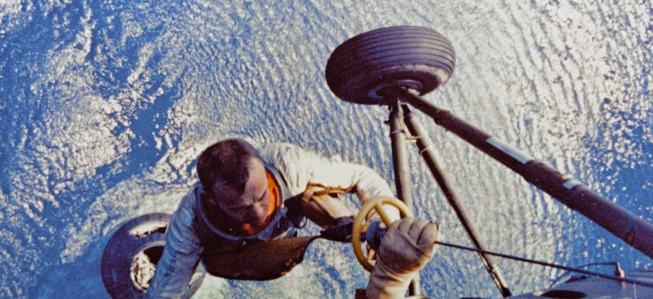 US astronaut Alan Shepard is lifted up t