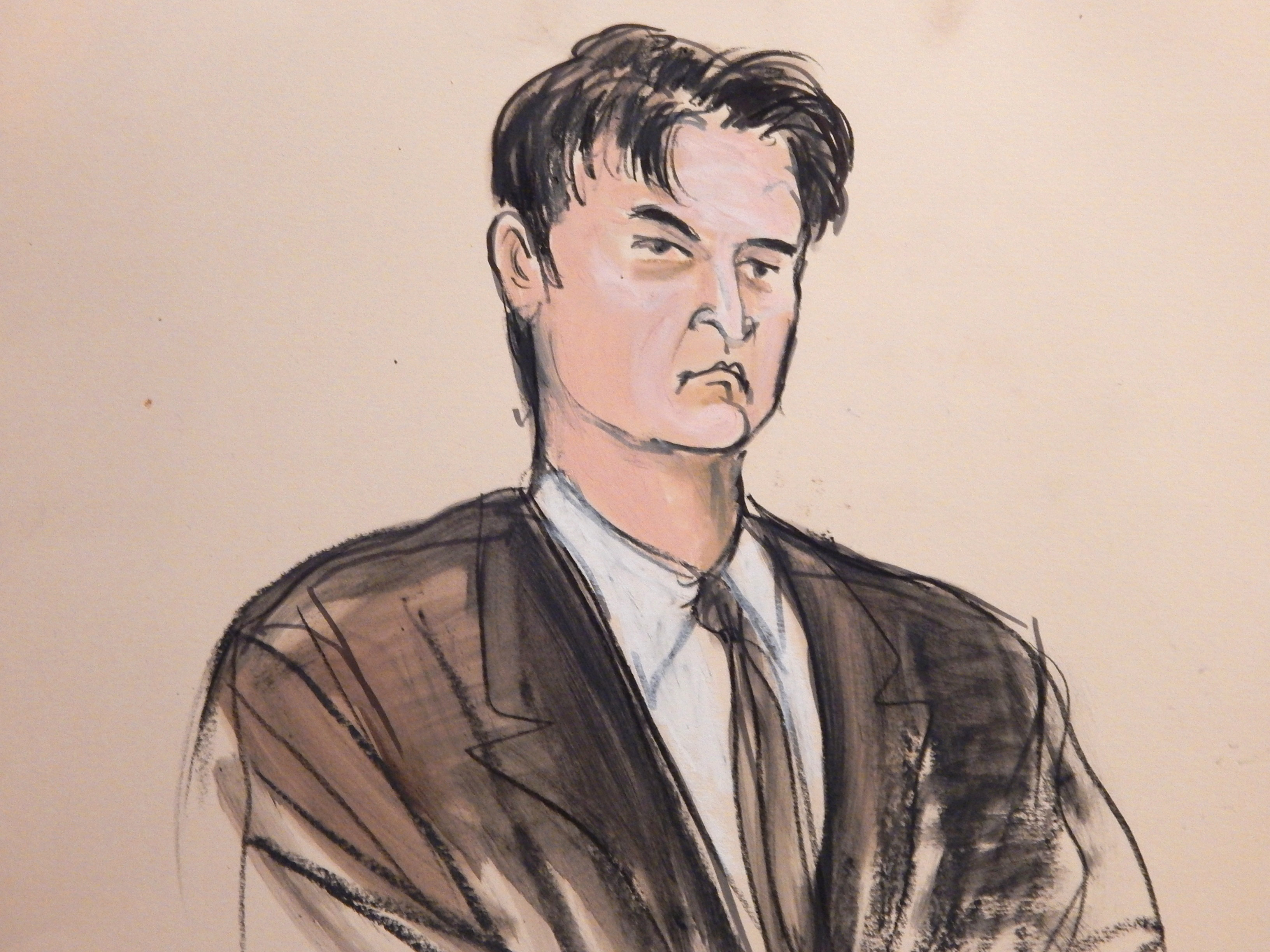"This Feb 4, 2015 courtroom sketch shows defendant Ross William Ulbricht as the deputy recites the word ""guilty"" multiple times during Ubricht''s trial in New York."