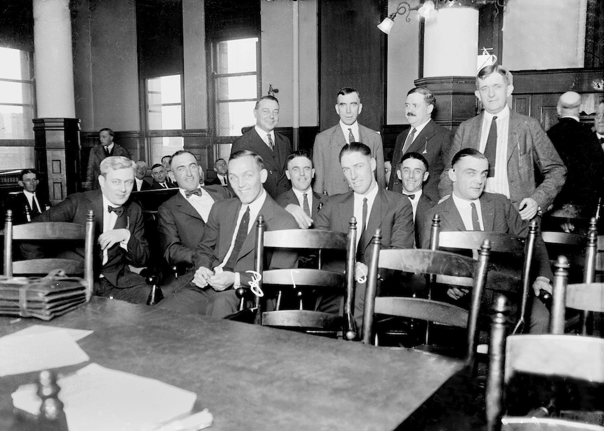 Black Sox  players with their attorney in a Chicago courtroom in 1921
