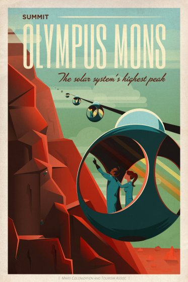 SpaceX Mars Tourism Poster: Olympus Mons