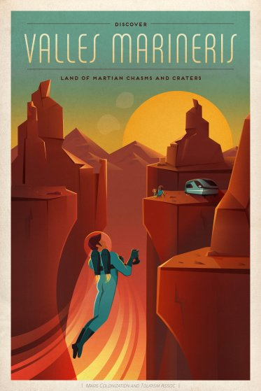 SpaceX Mars Tourism Poster: Valles Mariners