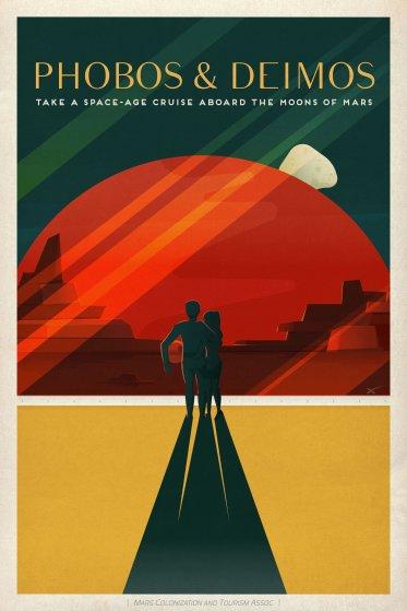 SpaceX Mars Tourism Poster: Phobos Deimos