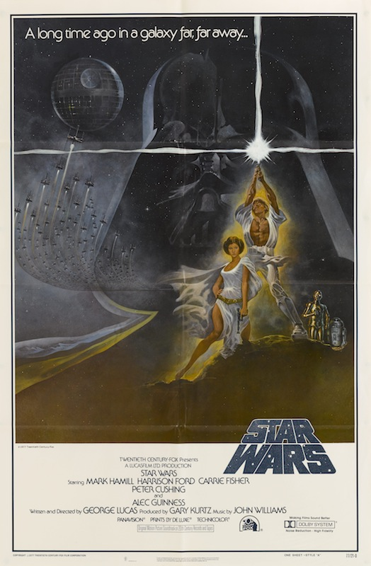 A poster for George Lucas' 1977 fantasy film 'Star Wars'