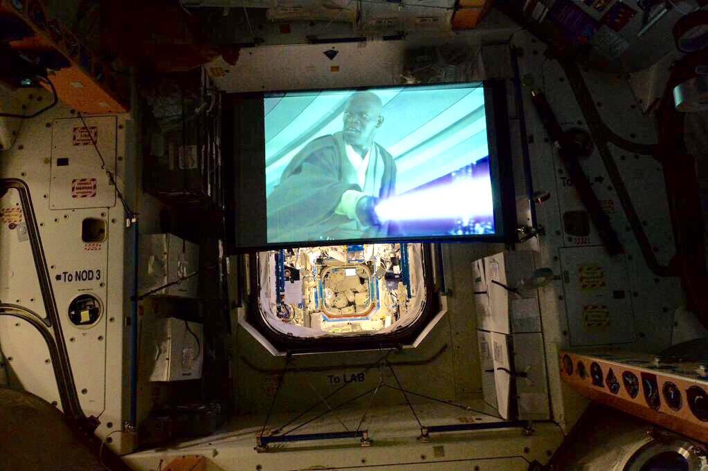 A quiet evening at home: NASA Tweeted this picture of movie night aboard the space station with the caption  Just watching @starwars. In space. No big deal.