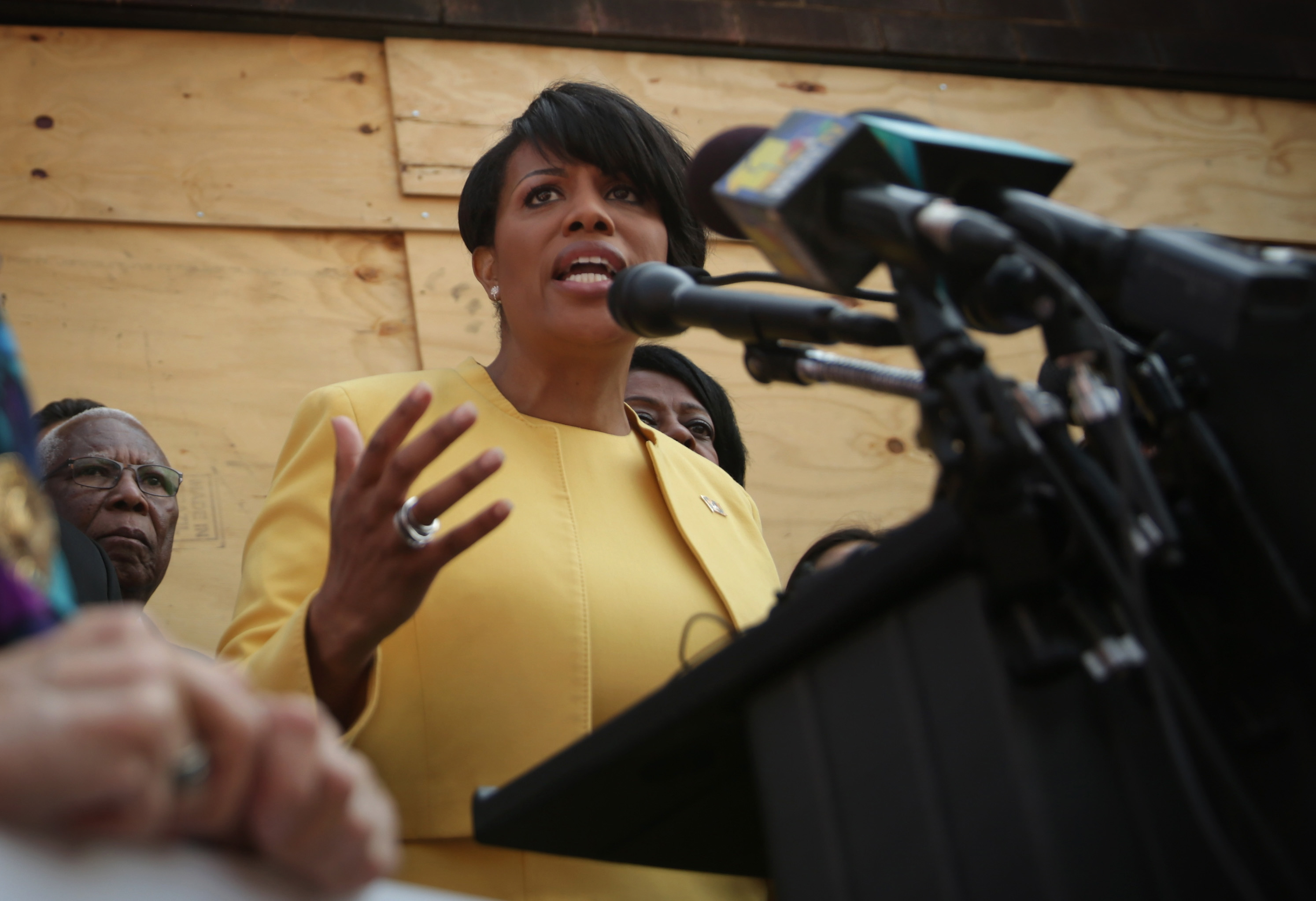 Mayor Stephanie Rawlings-Blake speaks during a news conference in front of the burned CVS in the Sandtown neighborhood on May 7, 2015 in Baltimore.