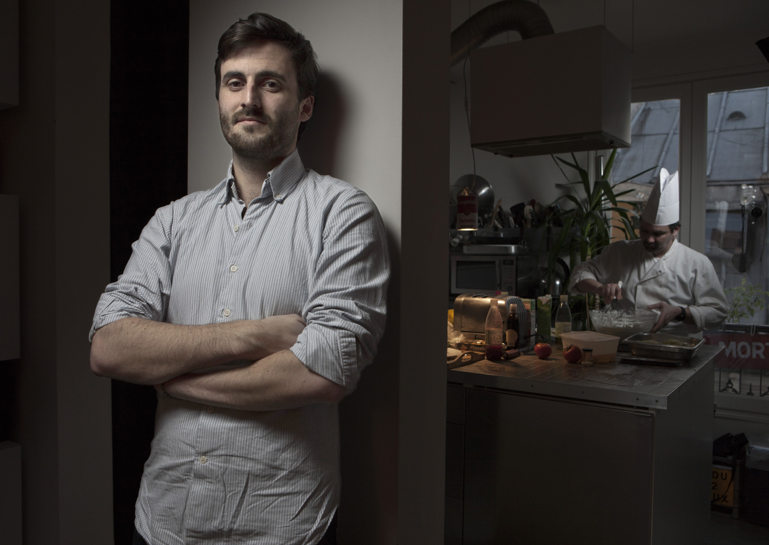 Stephen Leguillon of La Belle Assiette photographed in a Parisian home while testing out the cuisine of a new chef.