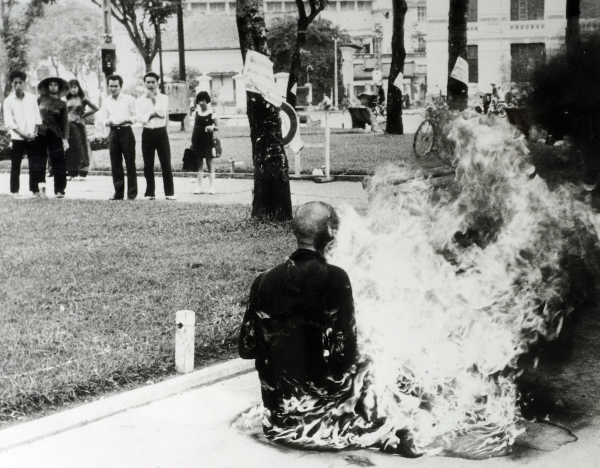 Politics. Saigon, South Vietnam. 1963. A Buddiest monk burns himself to death in protest at government discrimination.