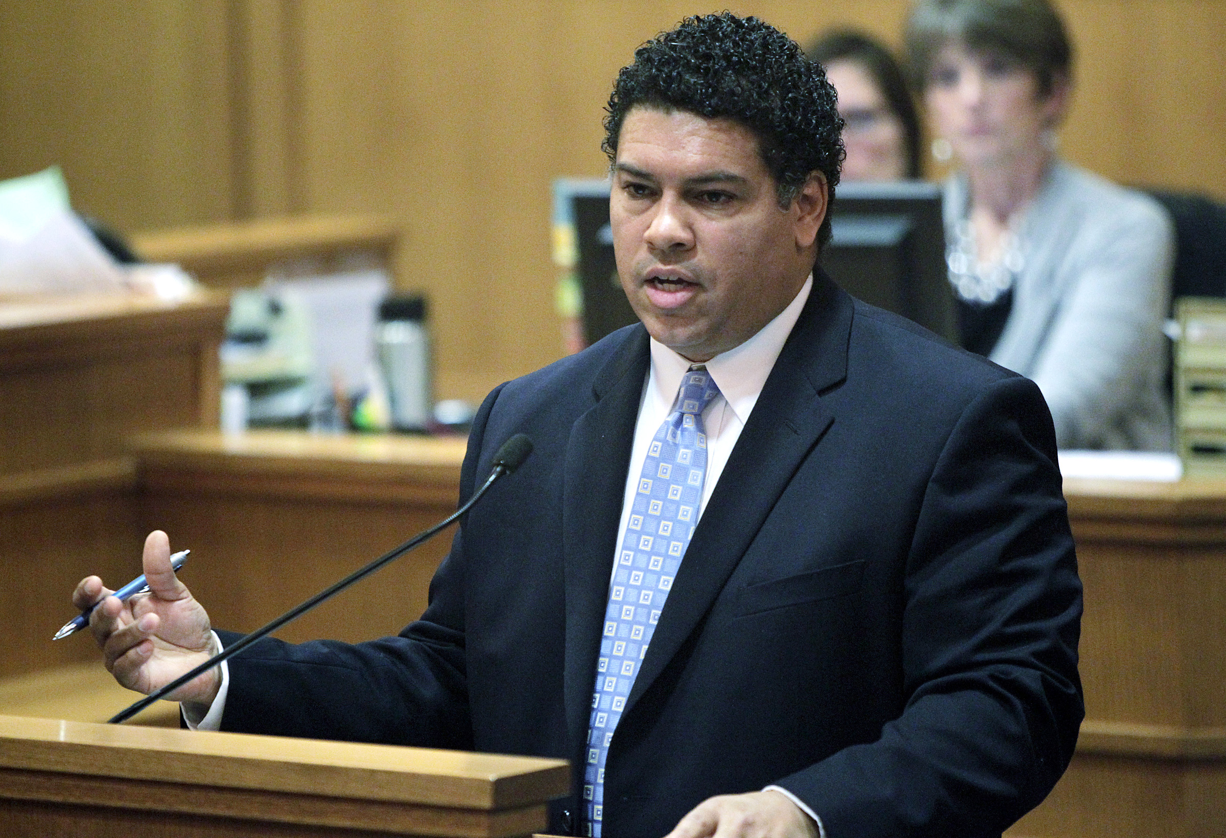 In this Feb. 26, 2013 file photo, Dane County, Wisconsin, District Attorney Ismael Ozanne speaks in a  Madison, Wis., court. Ozanne is weighing whether to file charges against Madison Officer Matt Kenny in Tony Robinson's death.