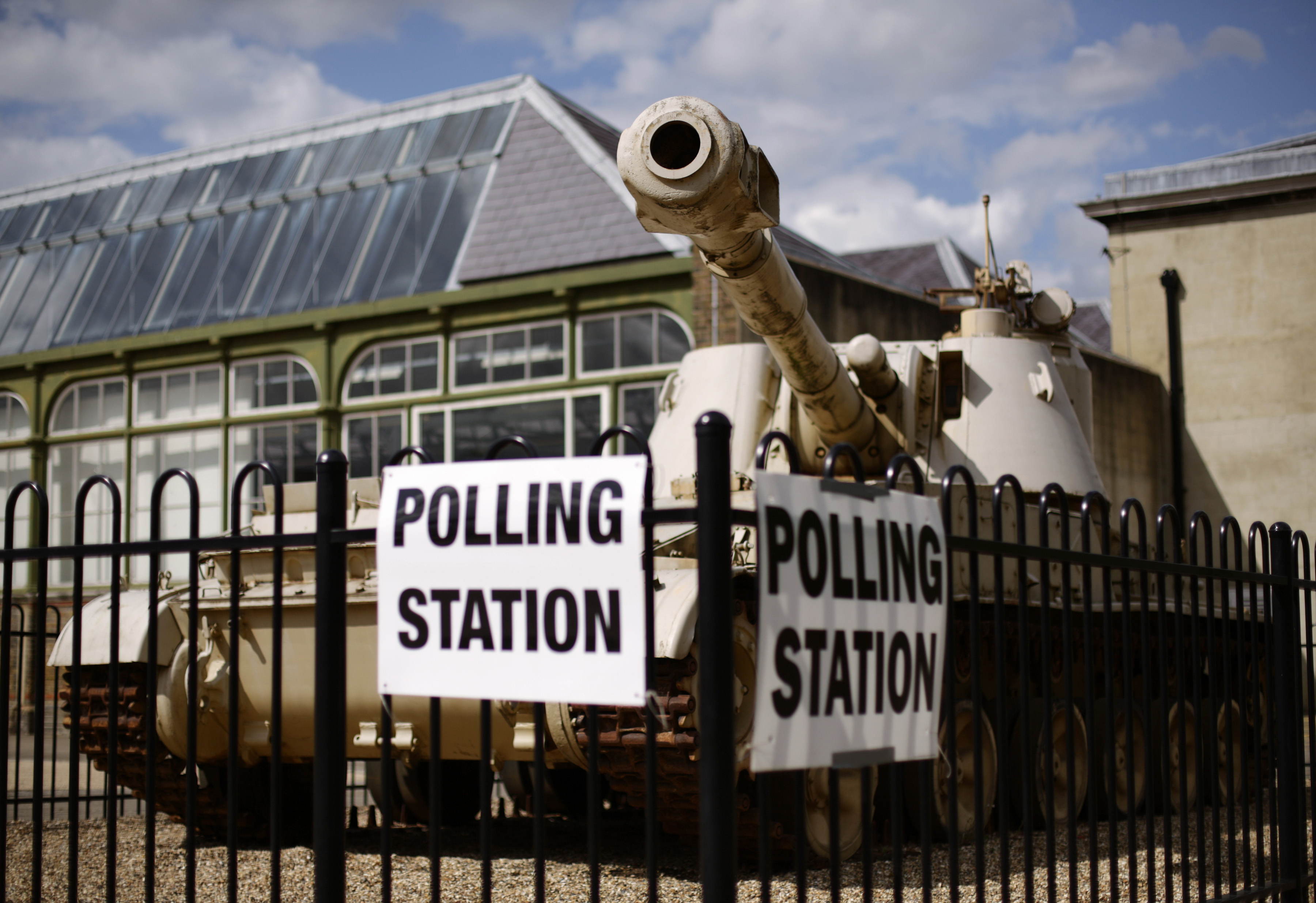 A polling station at the Royal Artillery Museum in Woolwich, east London, on the day of the General Election on May 7, 2015.
