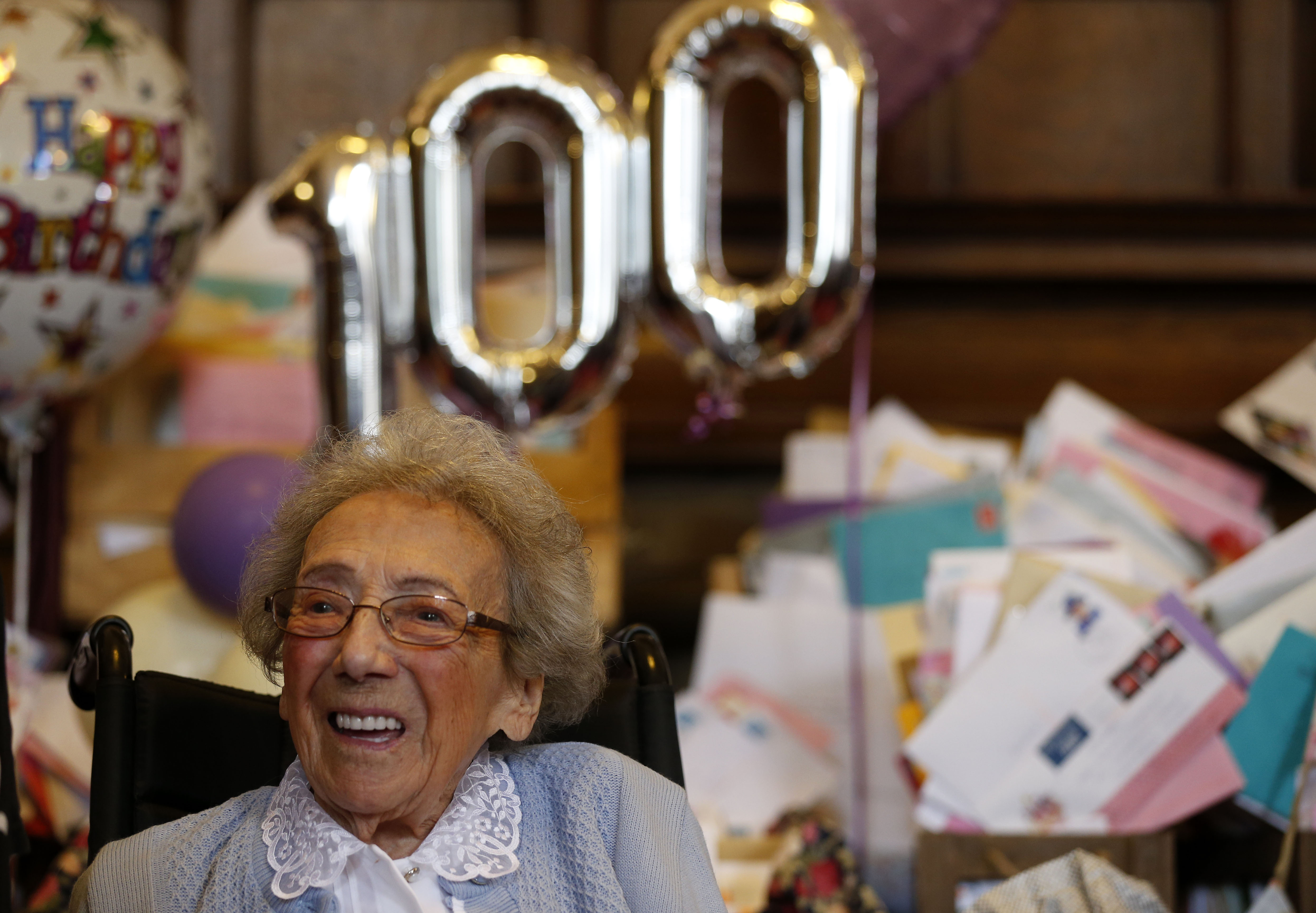 Winnie Blagden, who will become a centenarian at the end of the month, during a surprise party at Sheffield Town Hall, Sheffield, England.